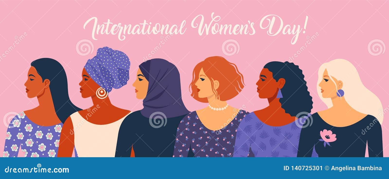 O dia das mulheres internacionais Ilustração do vetor com nacionalidades e culturas diferentes das mulheres