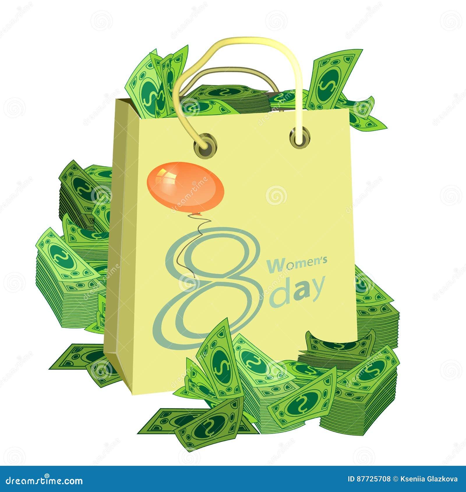 719f2dd00 O dia das mulheres s é uma figura oito dinheiro do saco de compras  Ilustração use um telefone