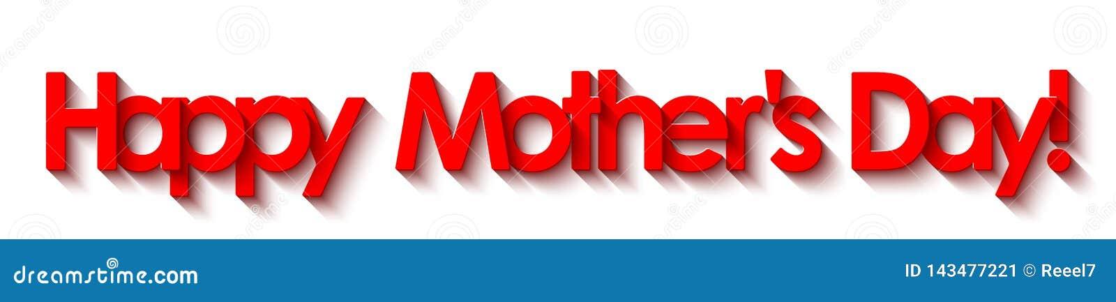 O dia de mãe feliz! Rotulação vermelha isolada no fundo branco