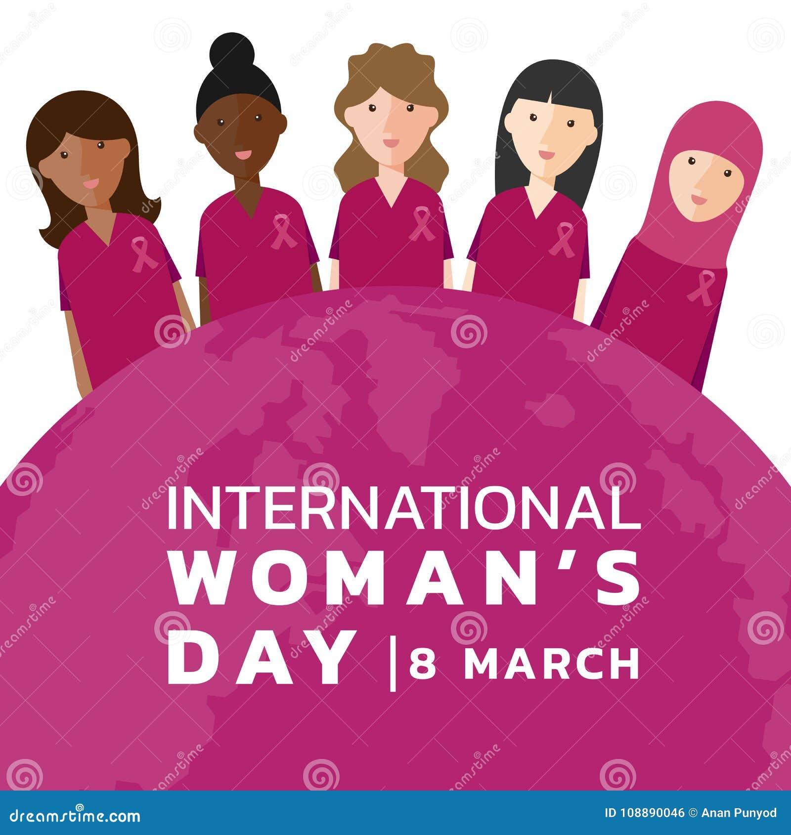 O Dia Internacional Da Mulher Com A Camisa E A Fita Do Rosa Do Desgaste Do Grupo Da Mulher E O Vetor Cor De Rosa Da Bandeira Do M Ilustracao Do Vetor Ilustracao