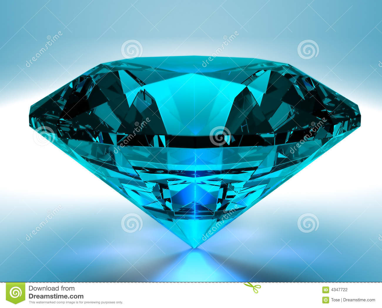 O Diamante Azul 3D Rende Fotografia De Stock