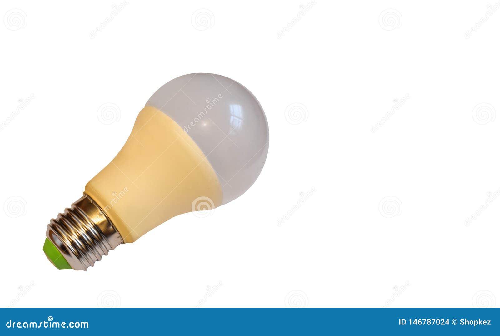 O diodo emissor de luz, ampola da nova tecnologia isolada no fundo branco, l?mpada el?trica da economia super da energia ? bom pa