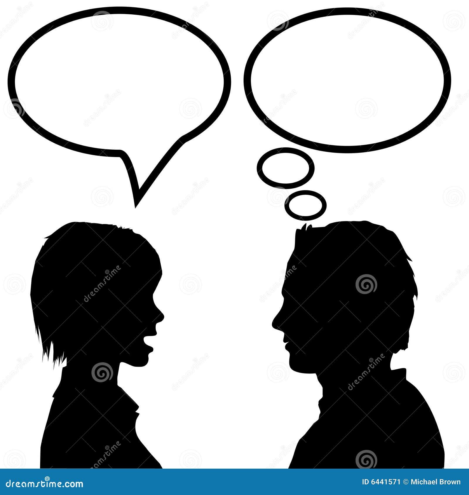 O discurso & o homem & a mulher da conversa dizem escutam & pensam