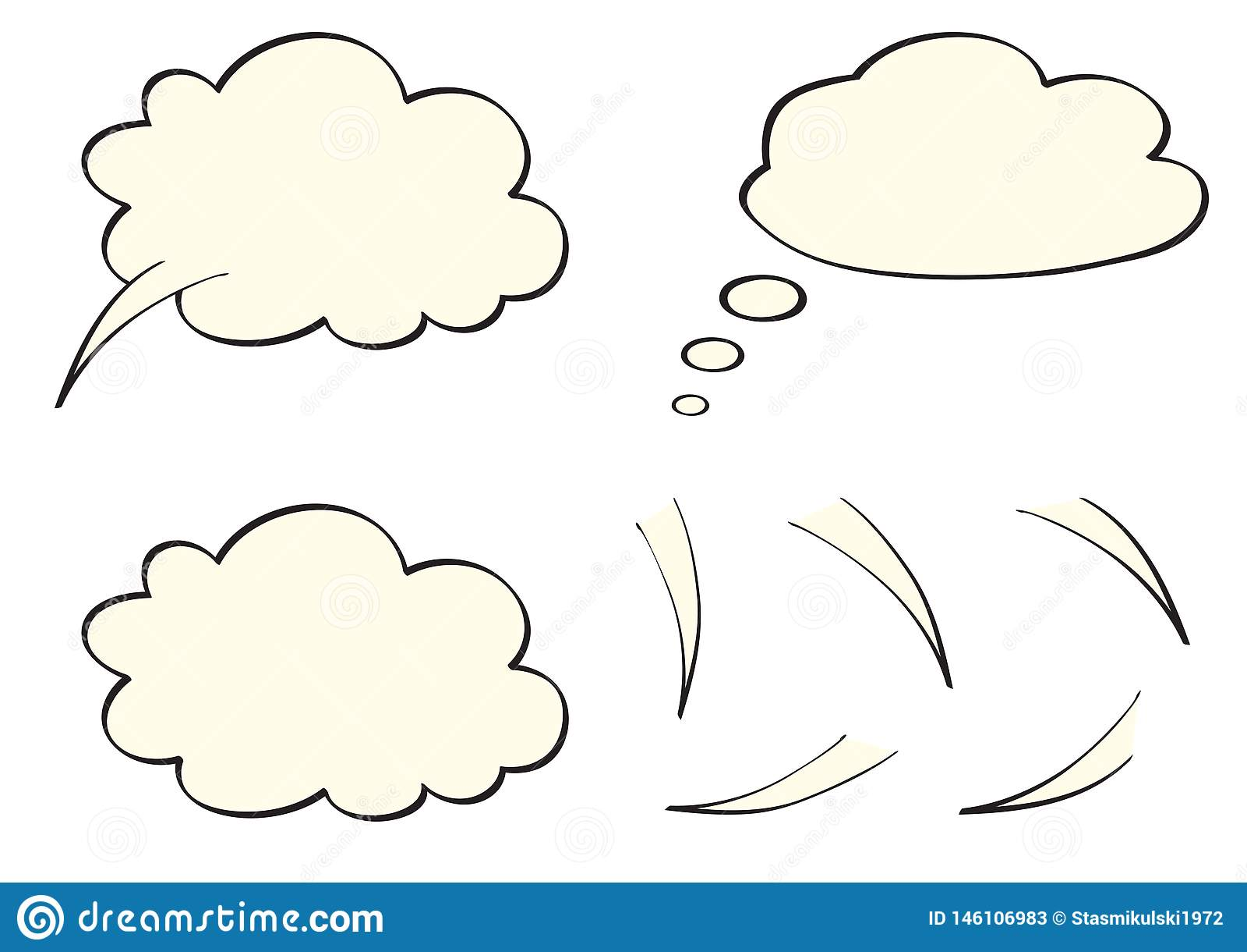 O discurso, pensa, bolhas do pensamento, como nuvens