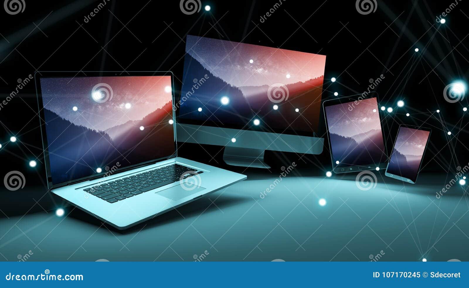 O dispositivo digital moderno da tecnologia conectou entre si a rendição 3D