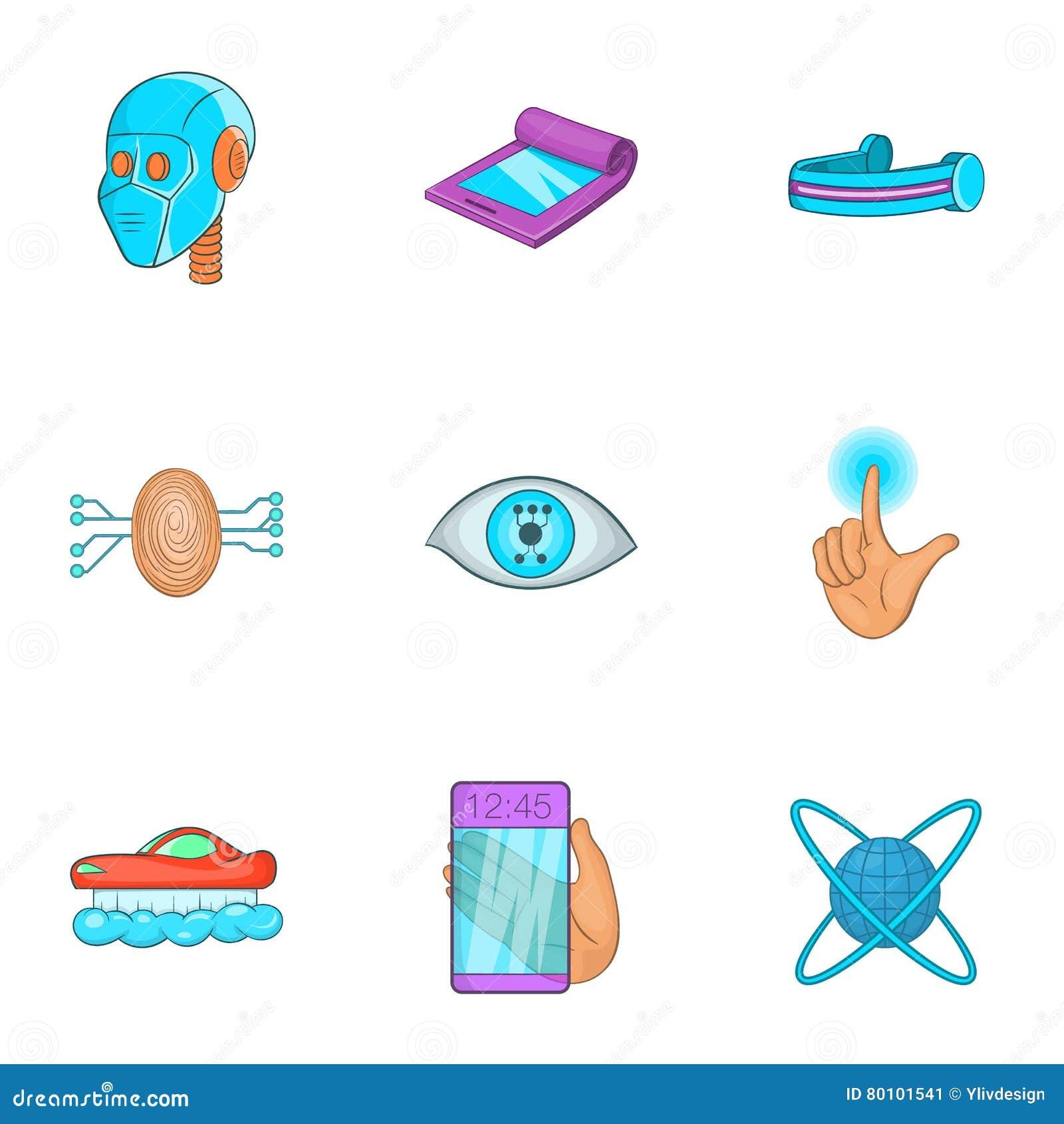 O dispositivo dos ícones futuros ajustou-se, estilo dos desenhos animados