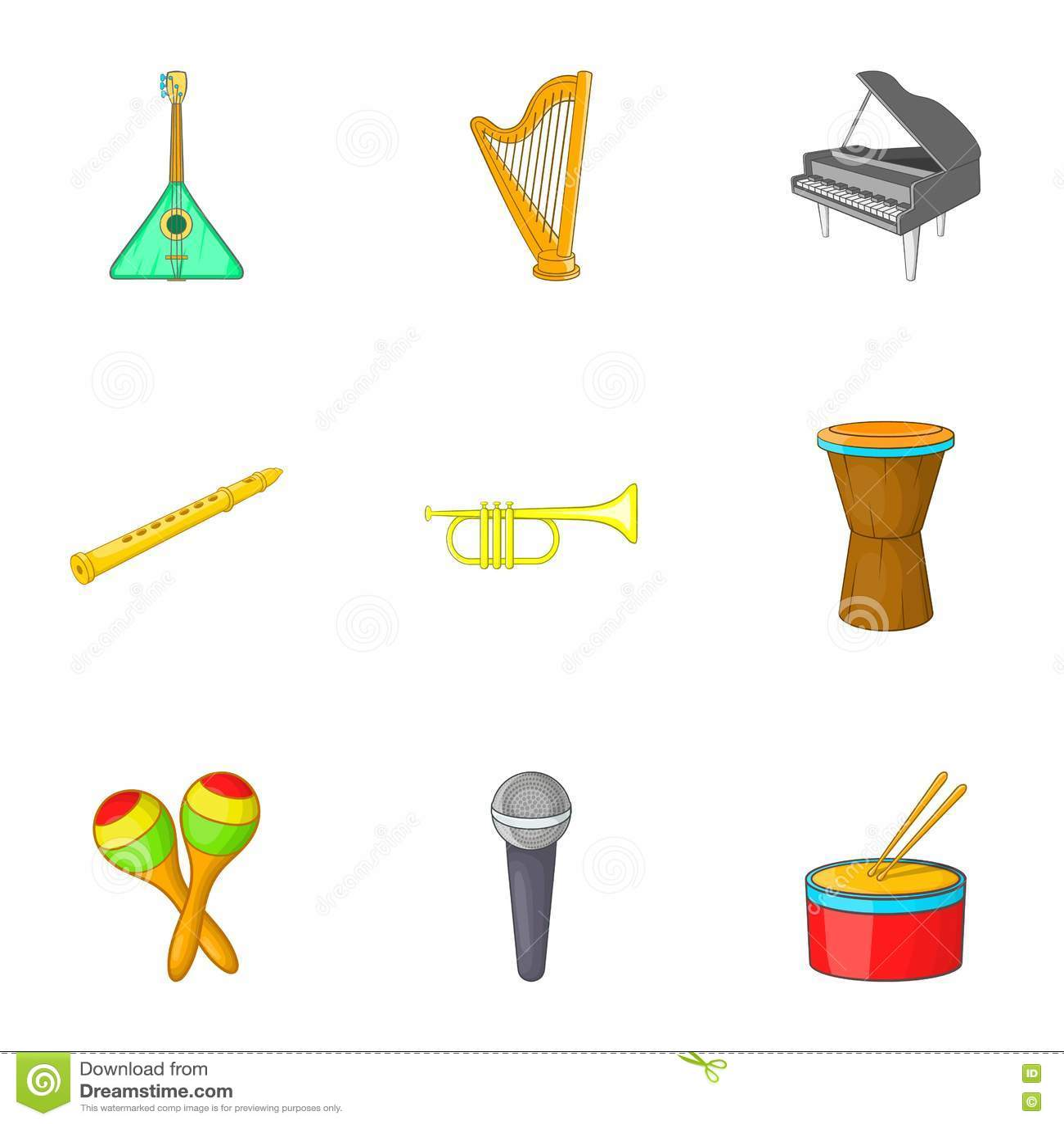O dispositivo para ícones da música ajustou-se, estilo dos desenhos animados
