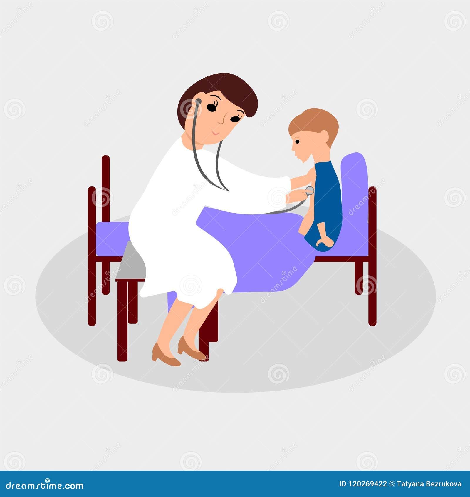 O doutor tem uma criança doente Ilustração de cor do vetor