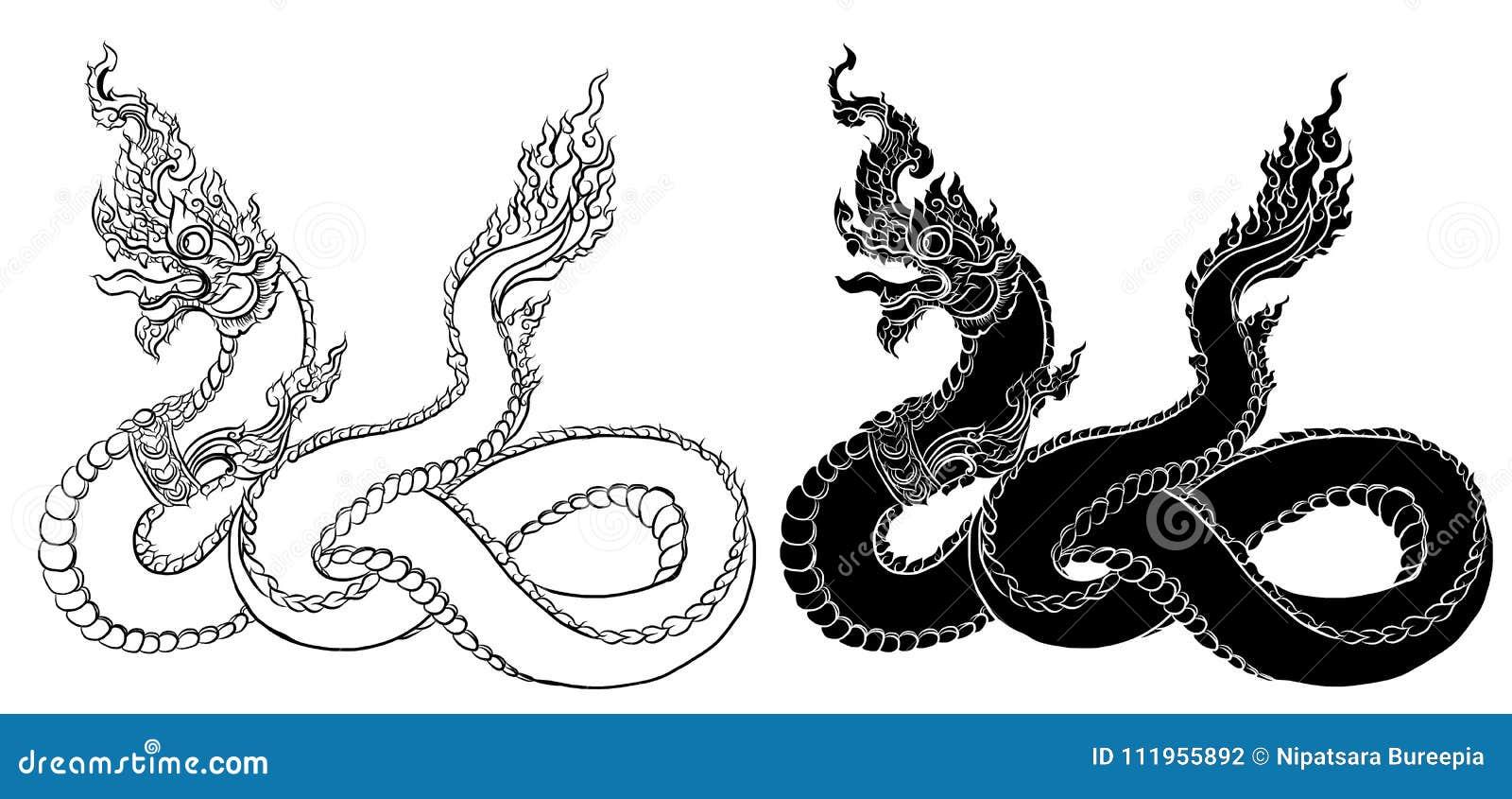 O dragão tailandês tirado mão na água, alinha tailandês é projeto do estilo e da tatuagem de Tailândia