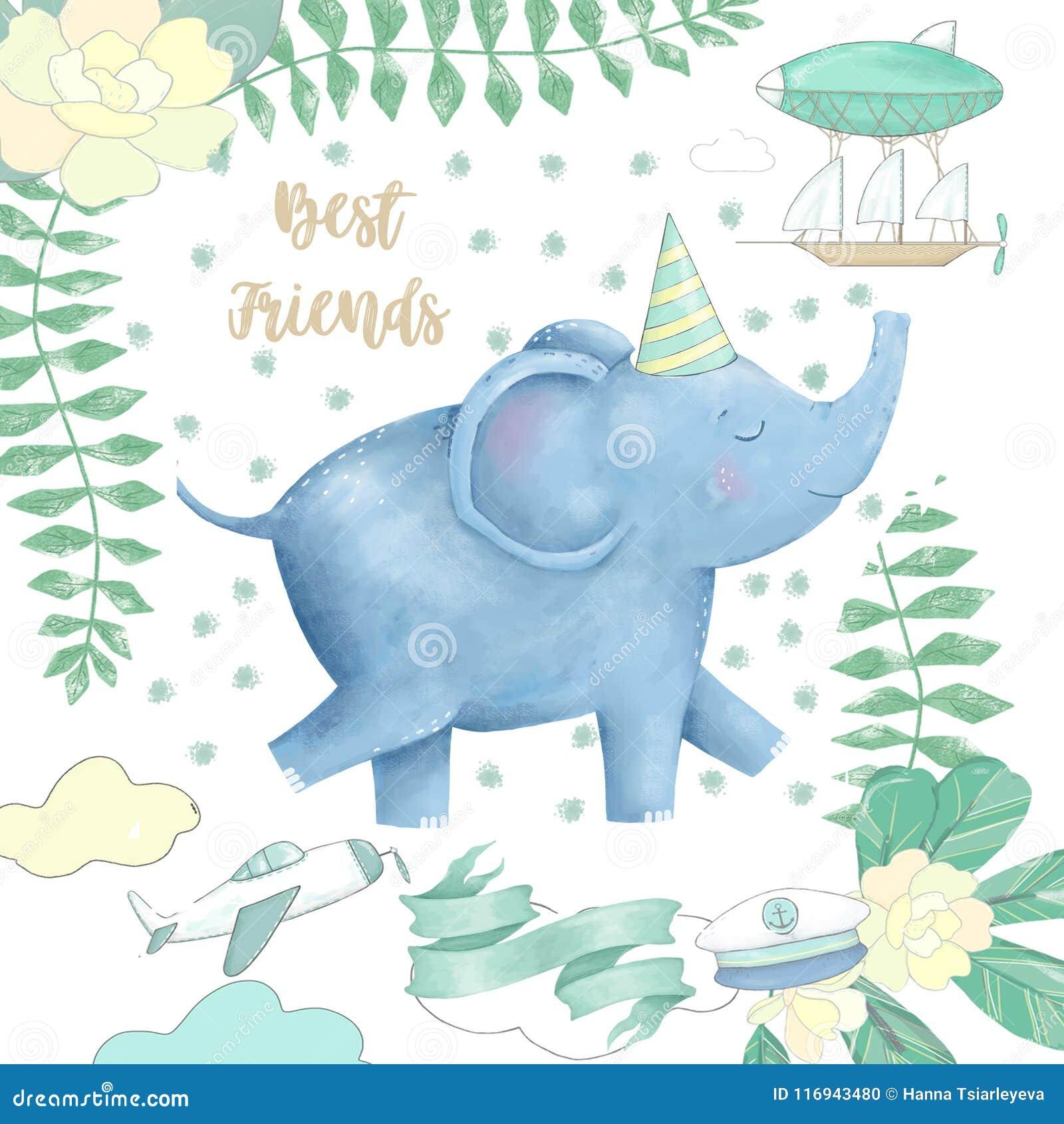 O elefante e as flores para o projeto aprontam o animal digital do clipart do cartão do caráter bonito do desenho de África do es