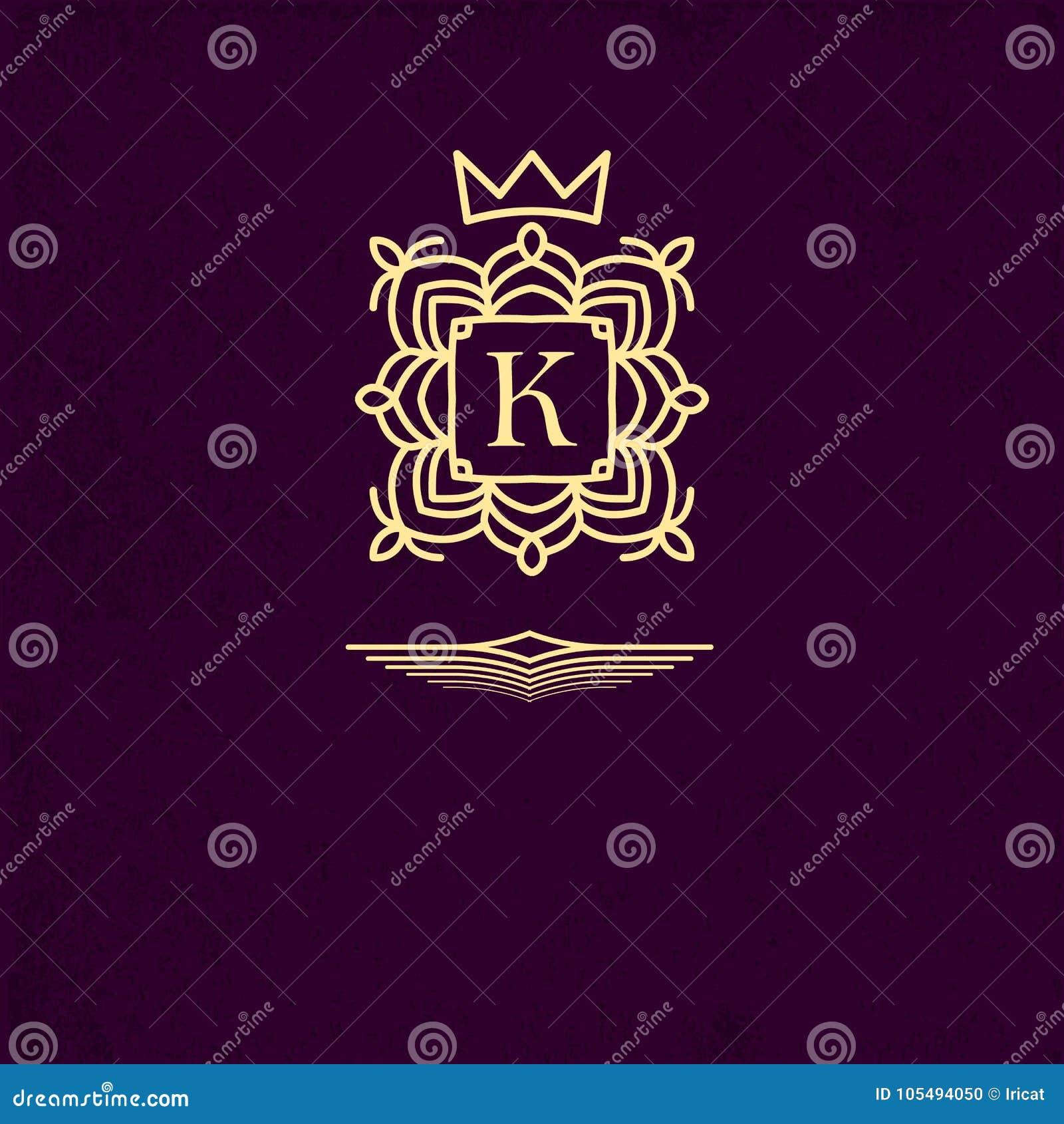 O emblema do ouro modelou o quadro em torno da letra K Elementos do projeto do monograma, molde gracioso Projeto simples do logot