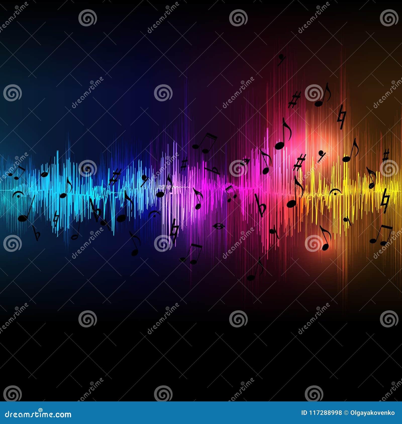 O equalizador da música do vetor acena o fundo, sumário do espectro