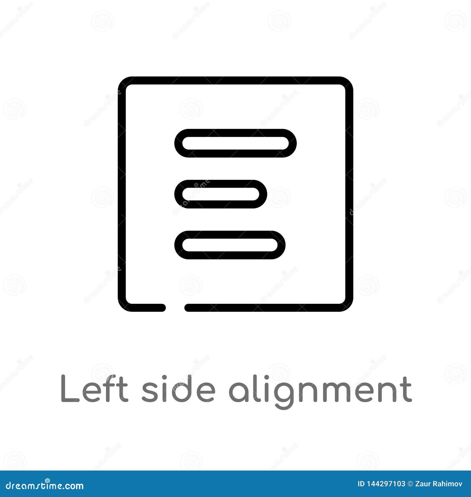 O esboço saiu do ícone do vetor do alinhamento lateral linha simples preta isolada ilustração do elemento do conceito da interfac