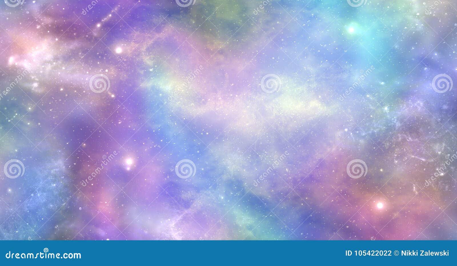 O espaço não é apenas escuro e profundo é enchido igualmente com a luz celestial e a cor