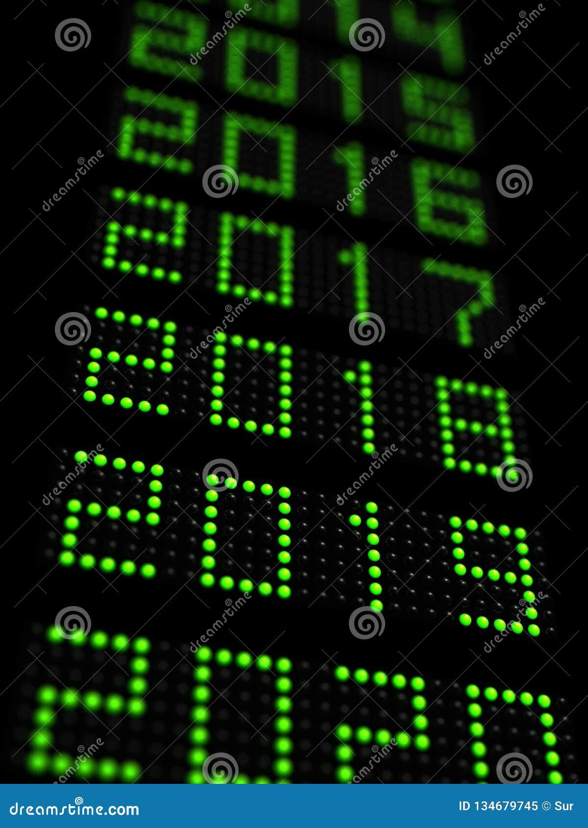 O espaço temporal 2019 do ano novo