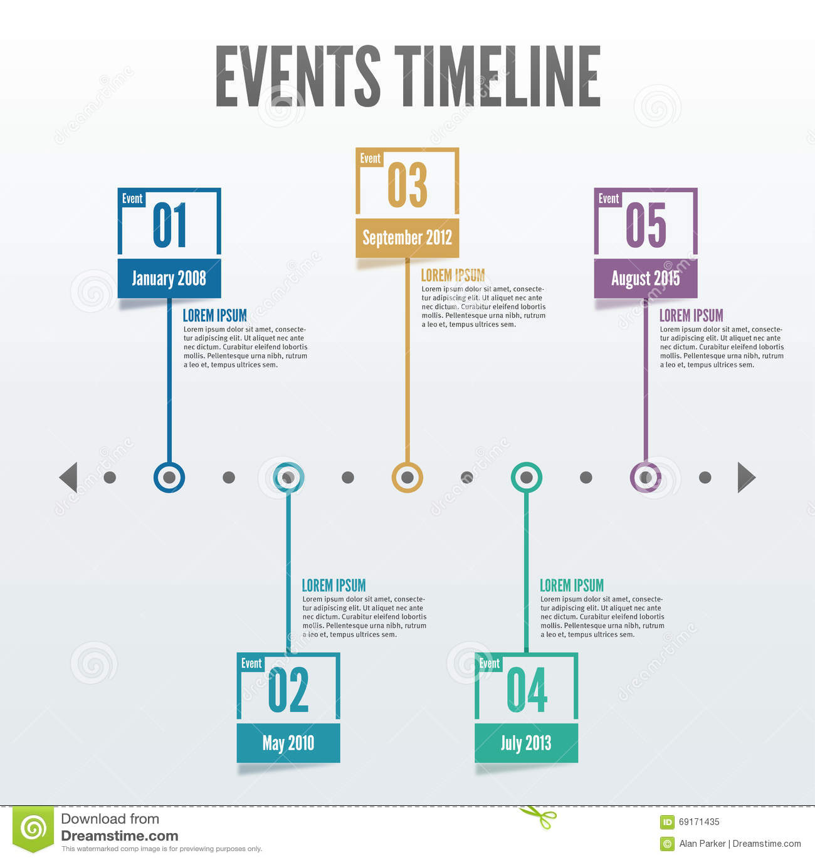 O espaço temporal Infographic de 5 eventos do ponto - vetor