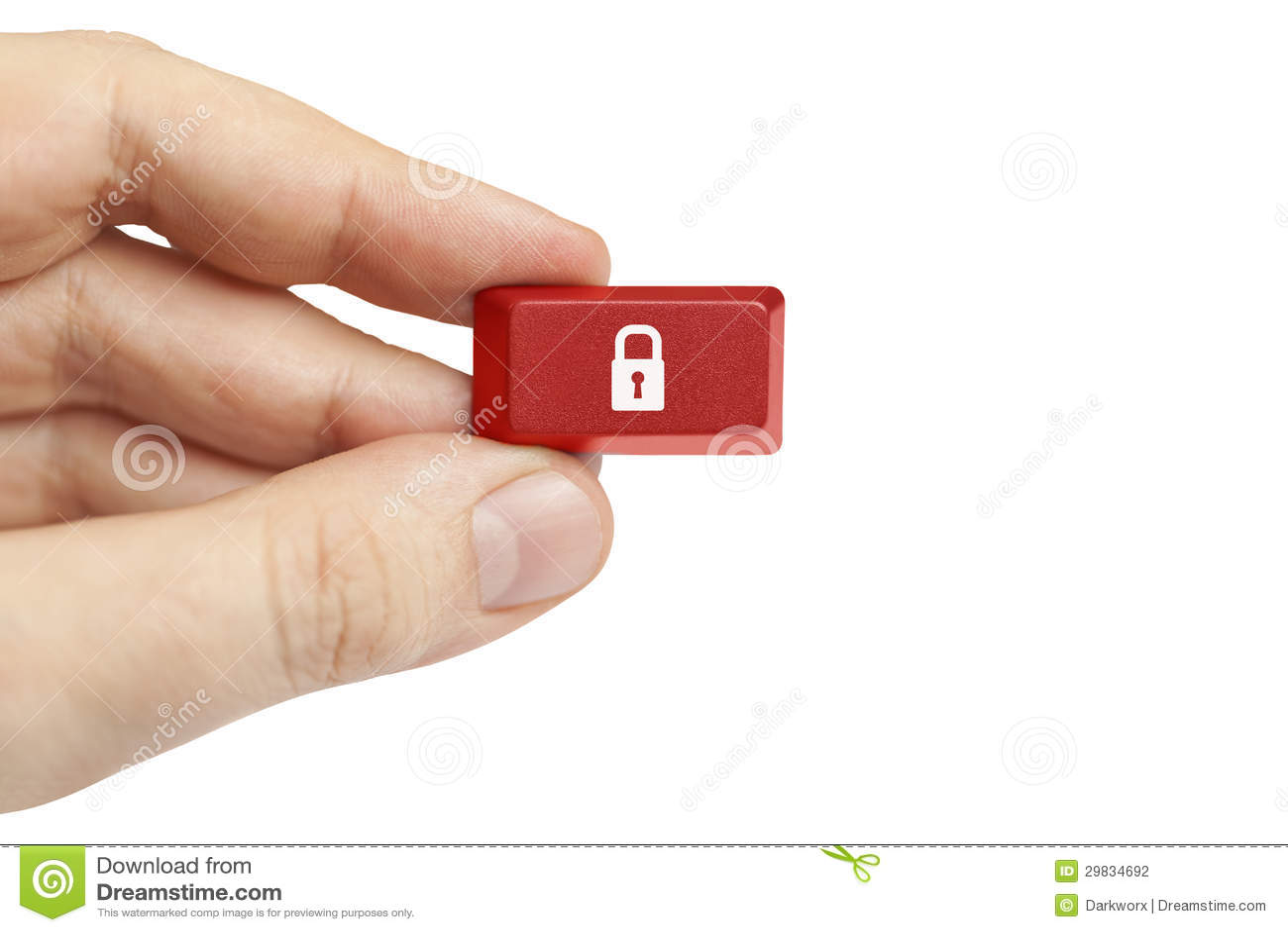 Mão que guardara a chave de computador da segurança