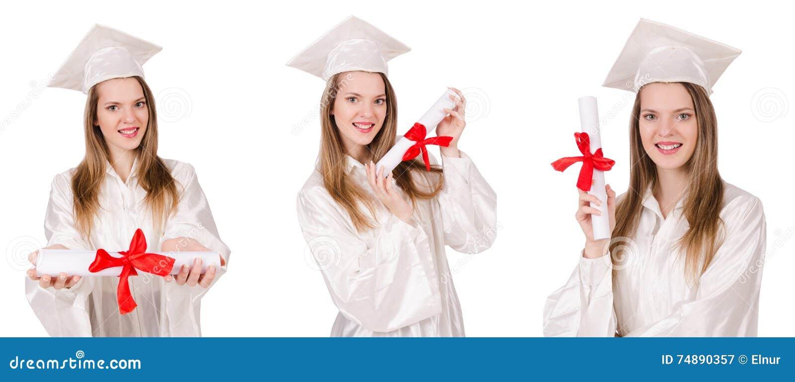 O estudante de mulher isolado no fundo branco