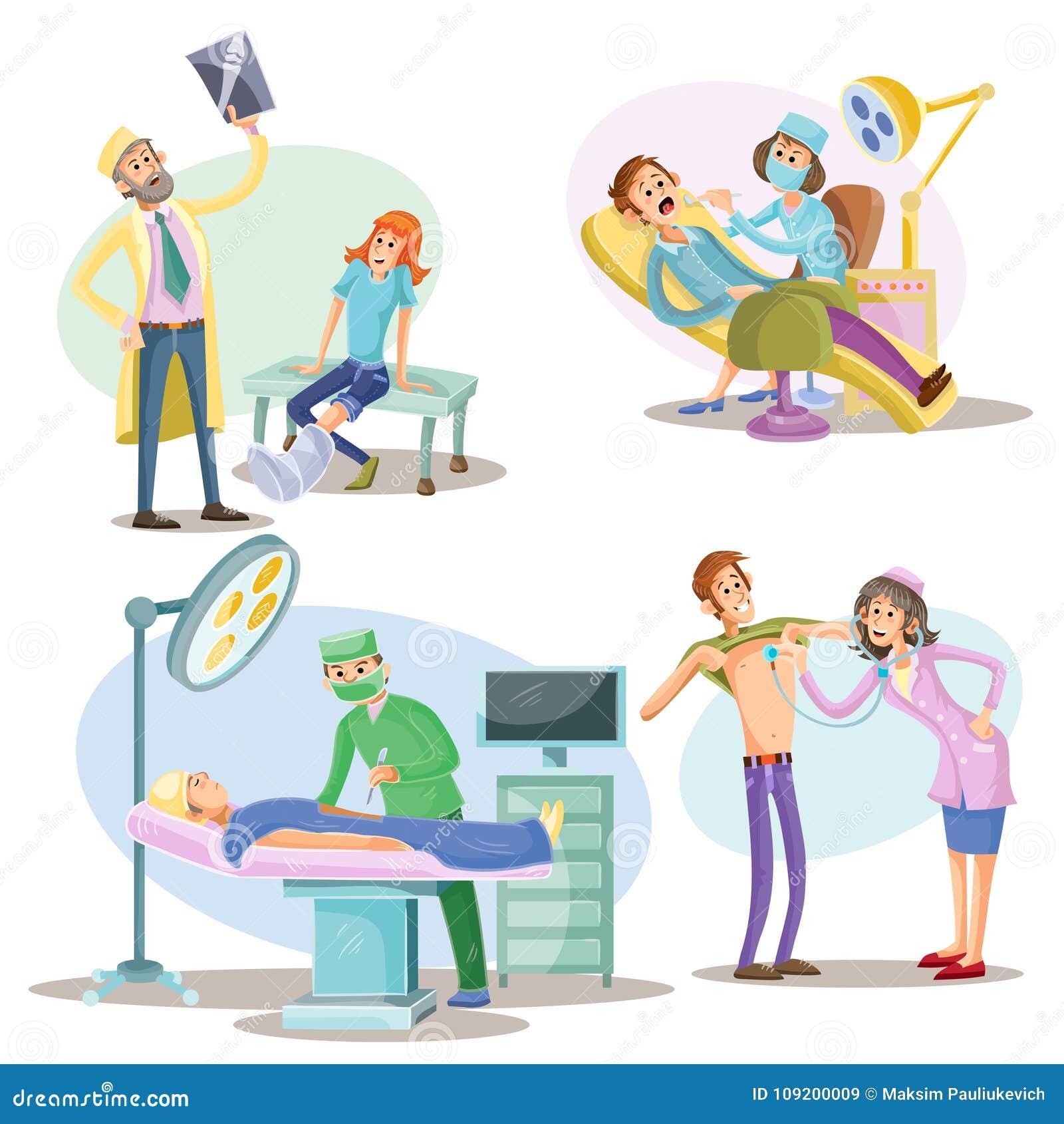 O exame médico e o tratamento vector a ilustração dos pacientes e dos doutores no cirurgião do hospital, no dentista e no terapeu