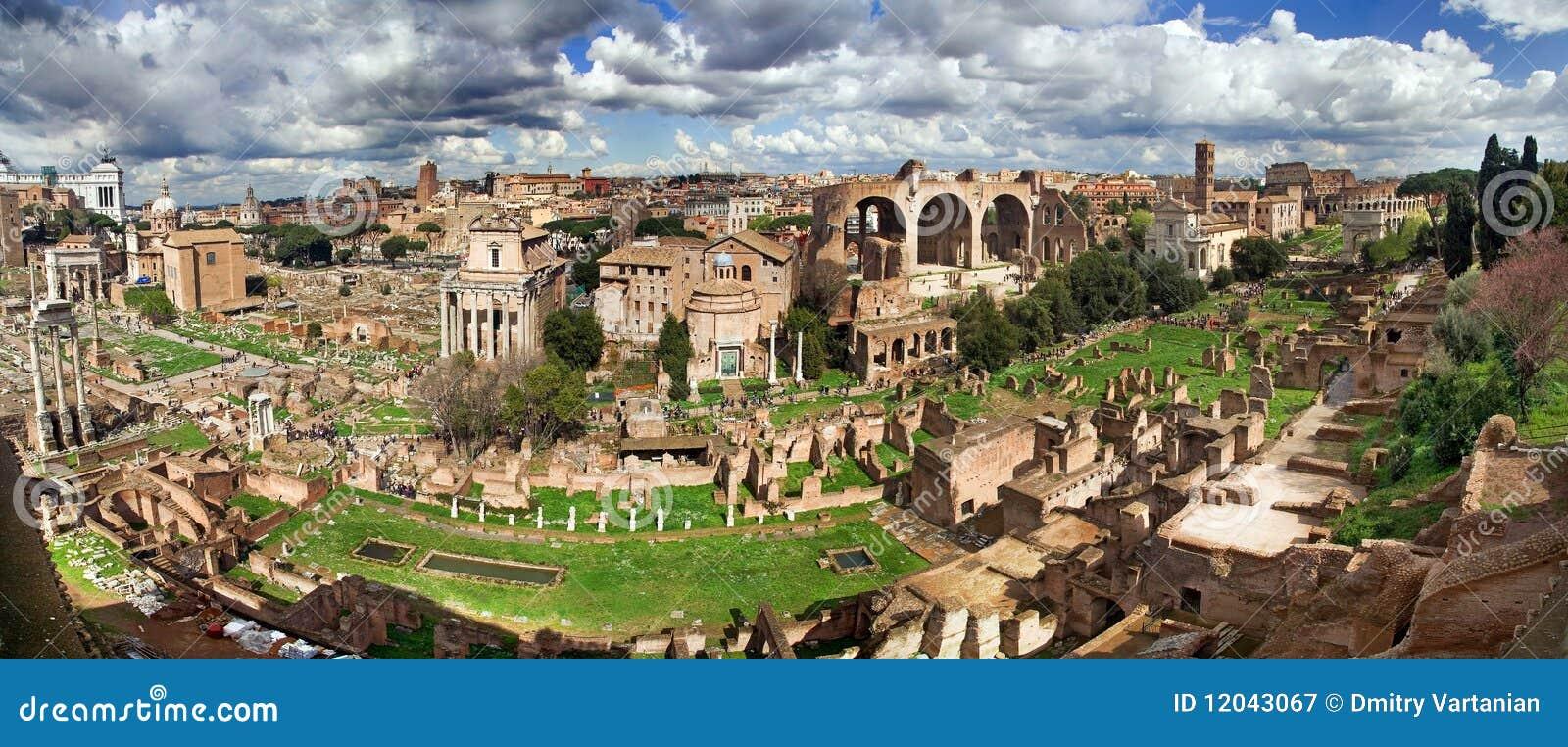 O fórum romano do monte de Palatine, panorama