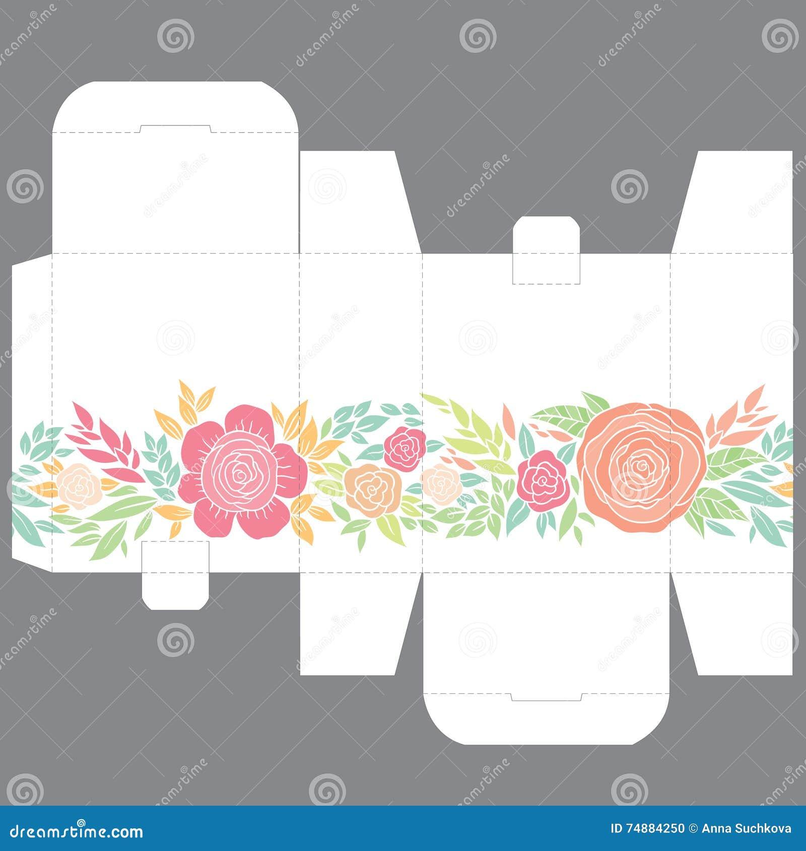 O favor do casamento do presente morre molde do projeto da caixa com teste padrão da natureza