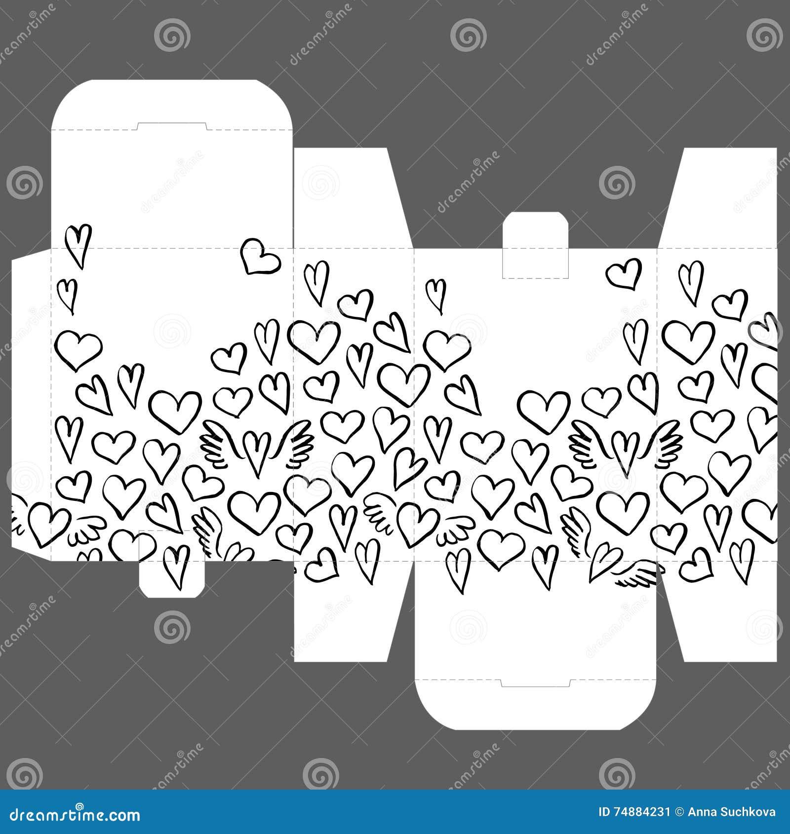 O favor do casamento do presente morre molde do projeto da caixa com teste padrão do coração