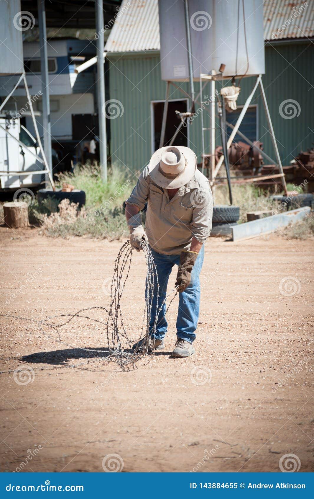 O fazendeiro rola um comprimento do arame farpado com as luvas de couro na propriedade