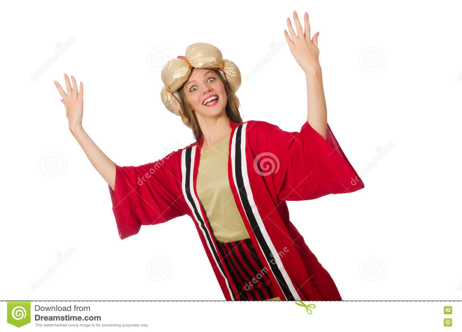 O feiticeiro da mulher na roupa vermelha isolada no branco