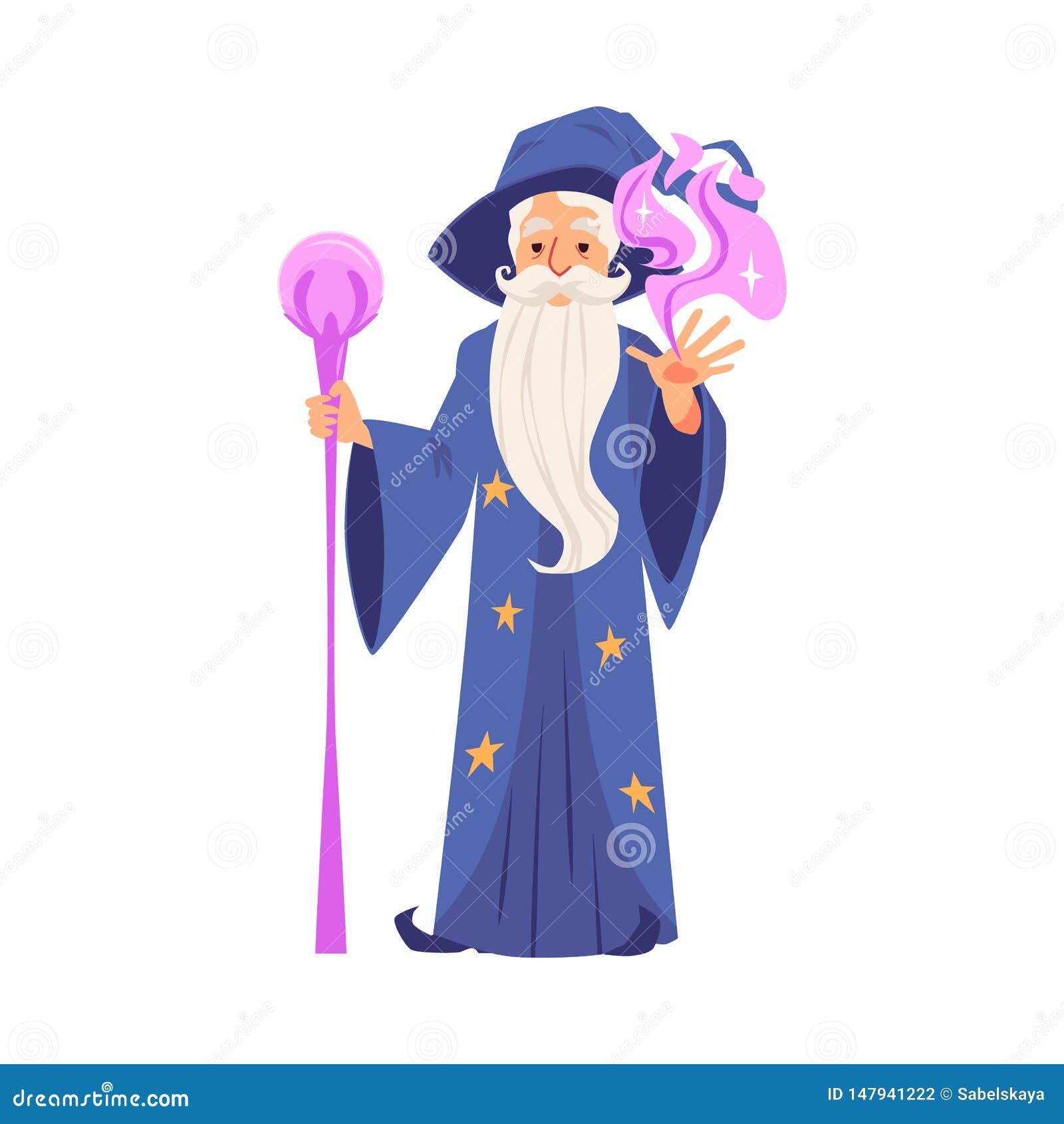 O feiticeiro ou o mágico criam a ilustração lisa mágica do vetor isolada no branco