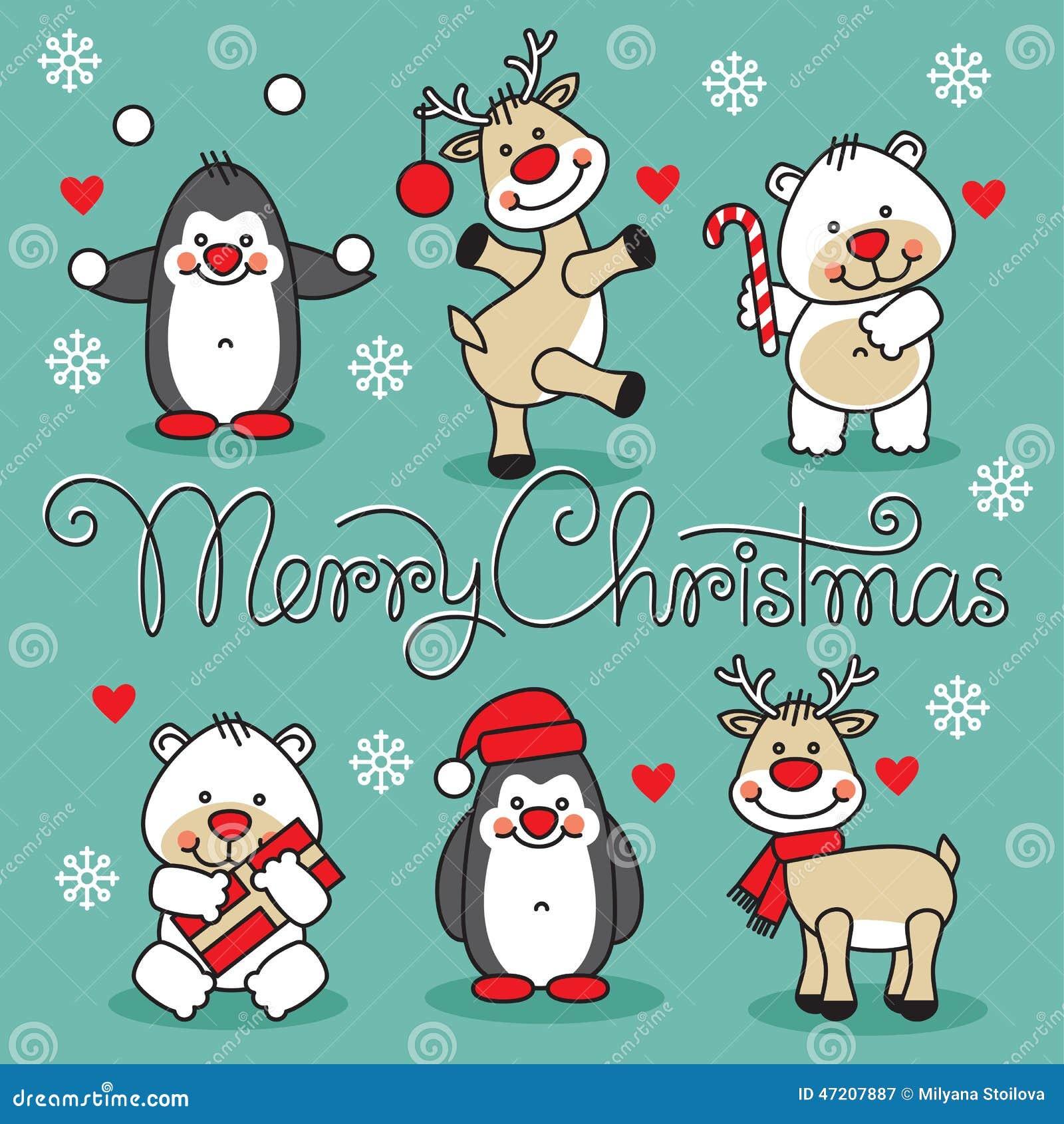 O feliz natal ajustou animais dos desenhos animados com for Animali a natale