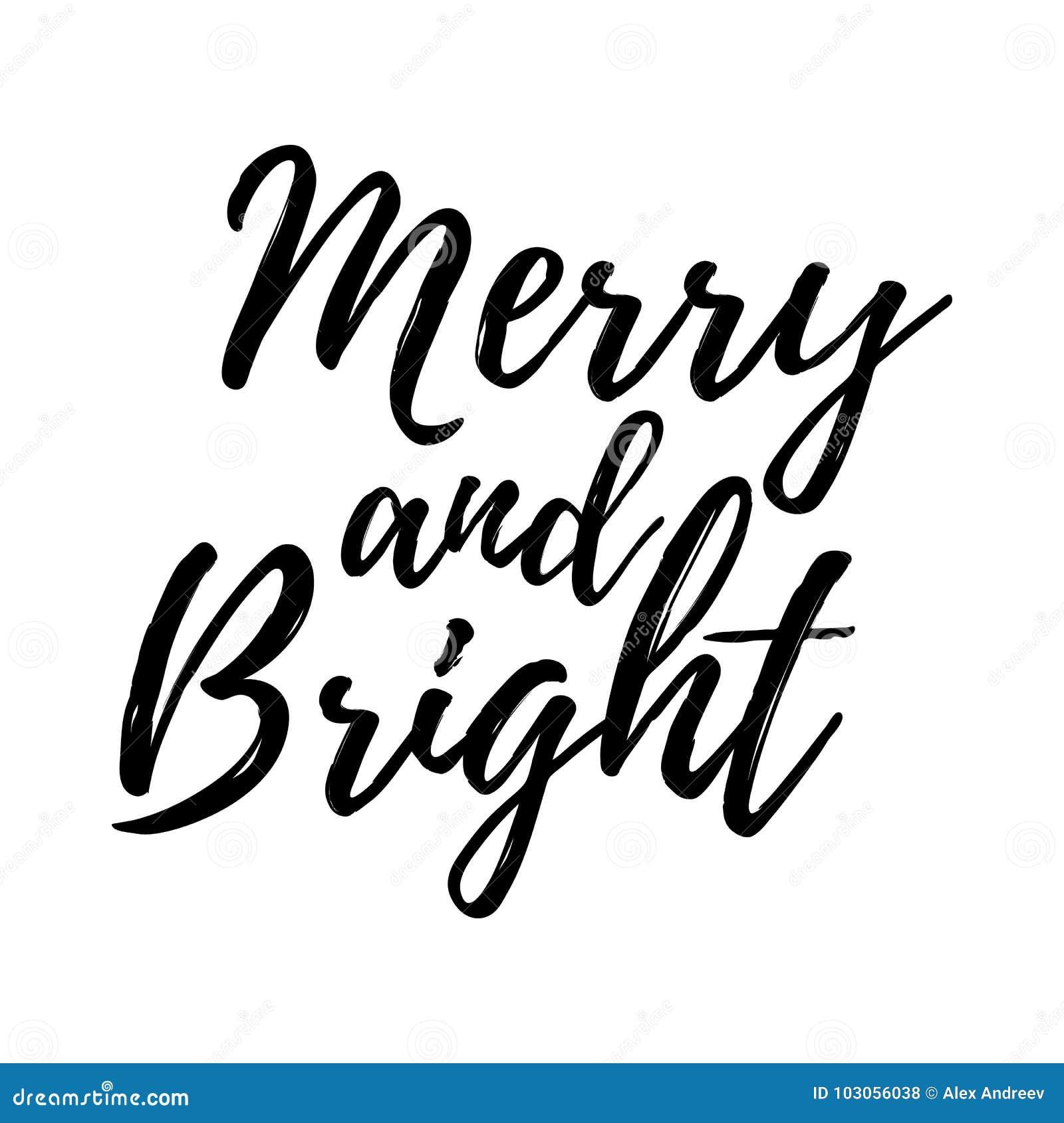 O Feliz Natal carda com a caligrafia alegre e brilhante molde