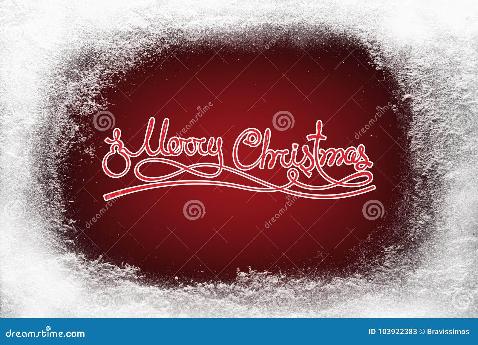 O Feliz Natal text na geada vermelha da neve do fundo e da geada na janela do xmas
