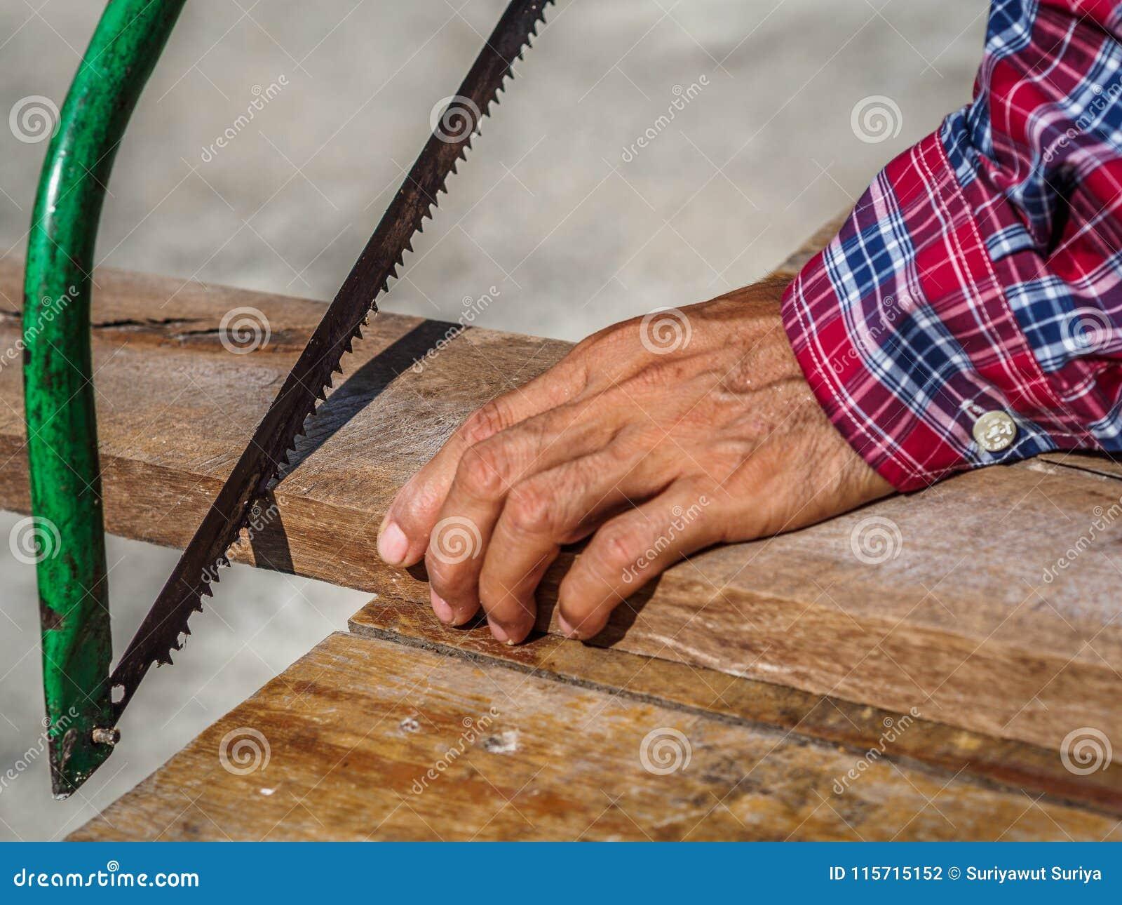 O fim acima do carpinteiro que vê uma placa com uma madeira da mão considerou Profe
