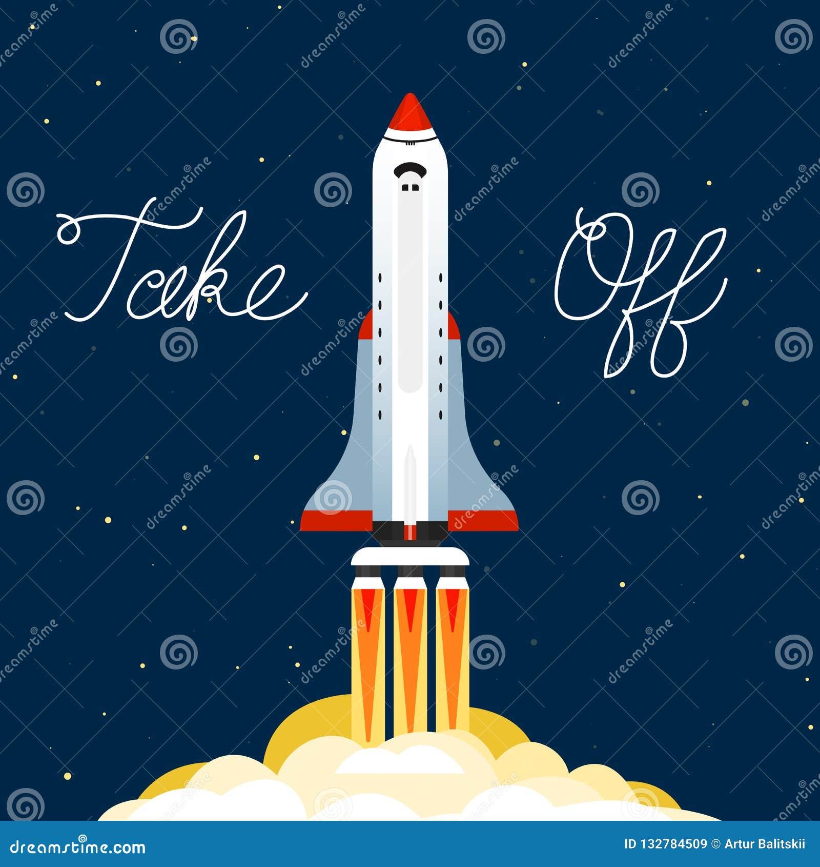 O foguete lançou-se no céu Voo espacial em um míssil Nave espacial na galáxia em um fundo escuro Um flash de