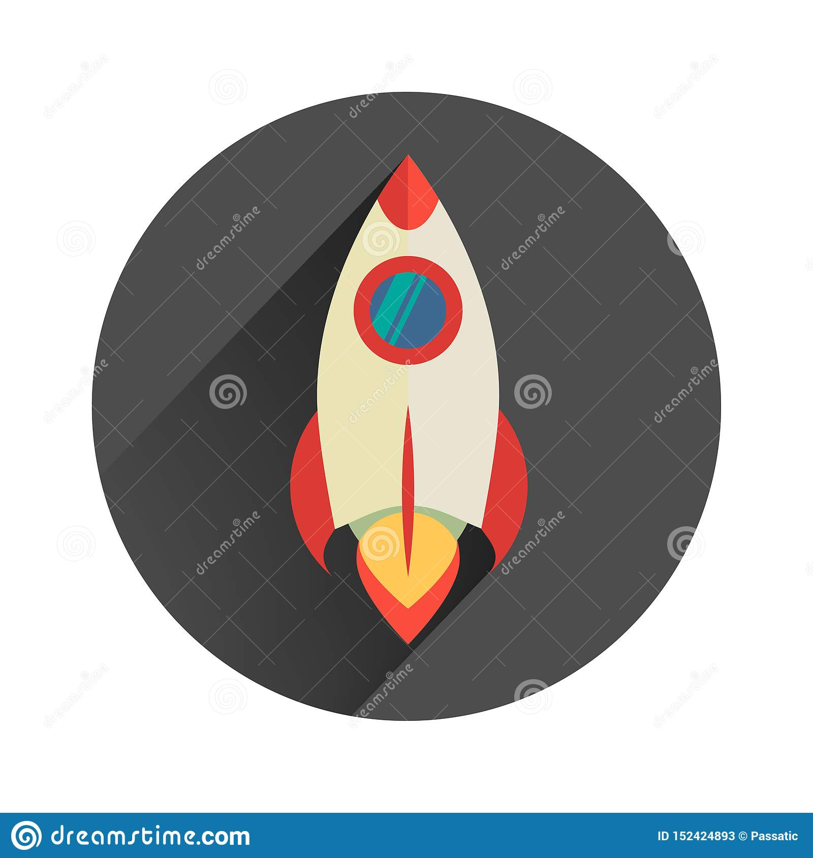 O foguete poderoso começa acima no projeto liso