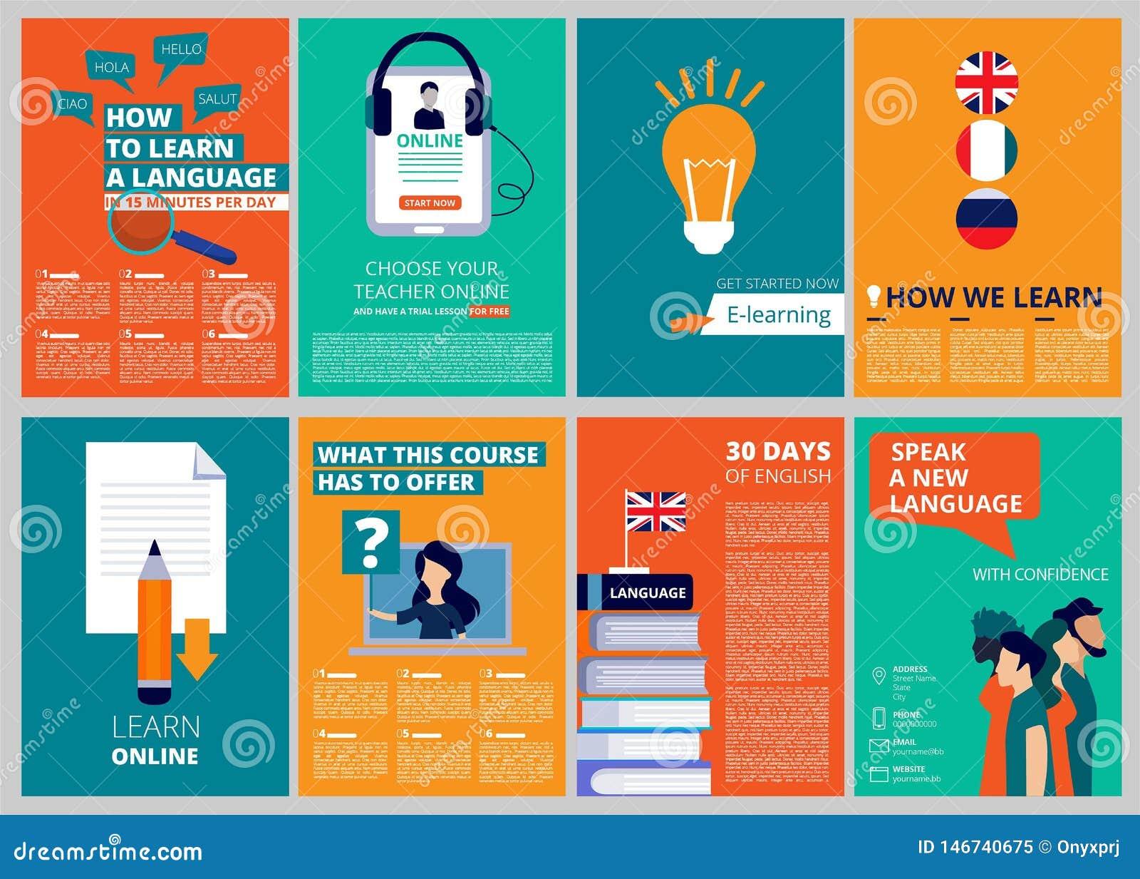 O folheto da educação cobre Moldes de capa de revista do vetor do treinamento e dos cursos