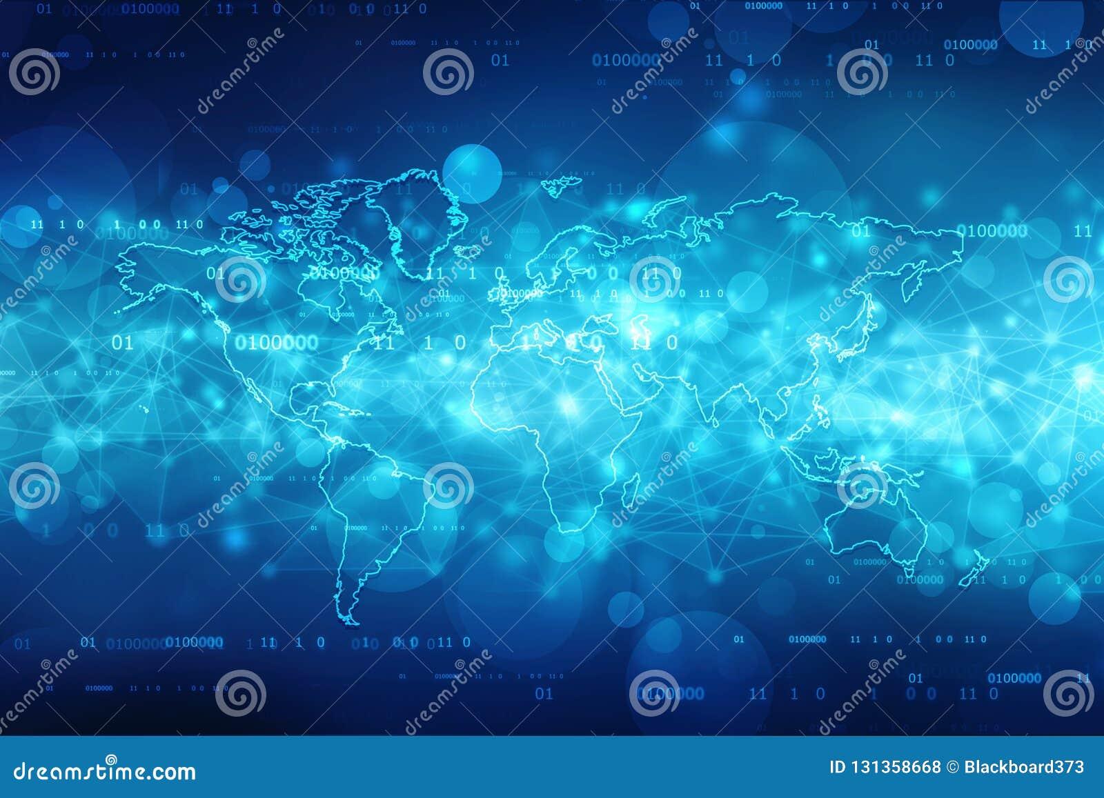 2.o fondo del extracto del mapa del mundo del ejemplo, fondo de la red de comunicaciones globales