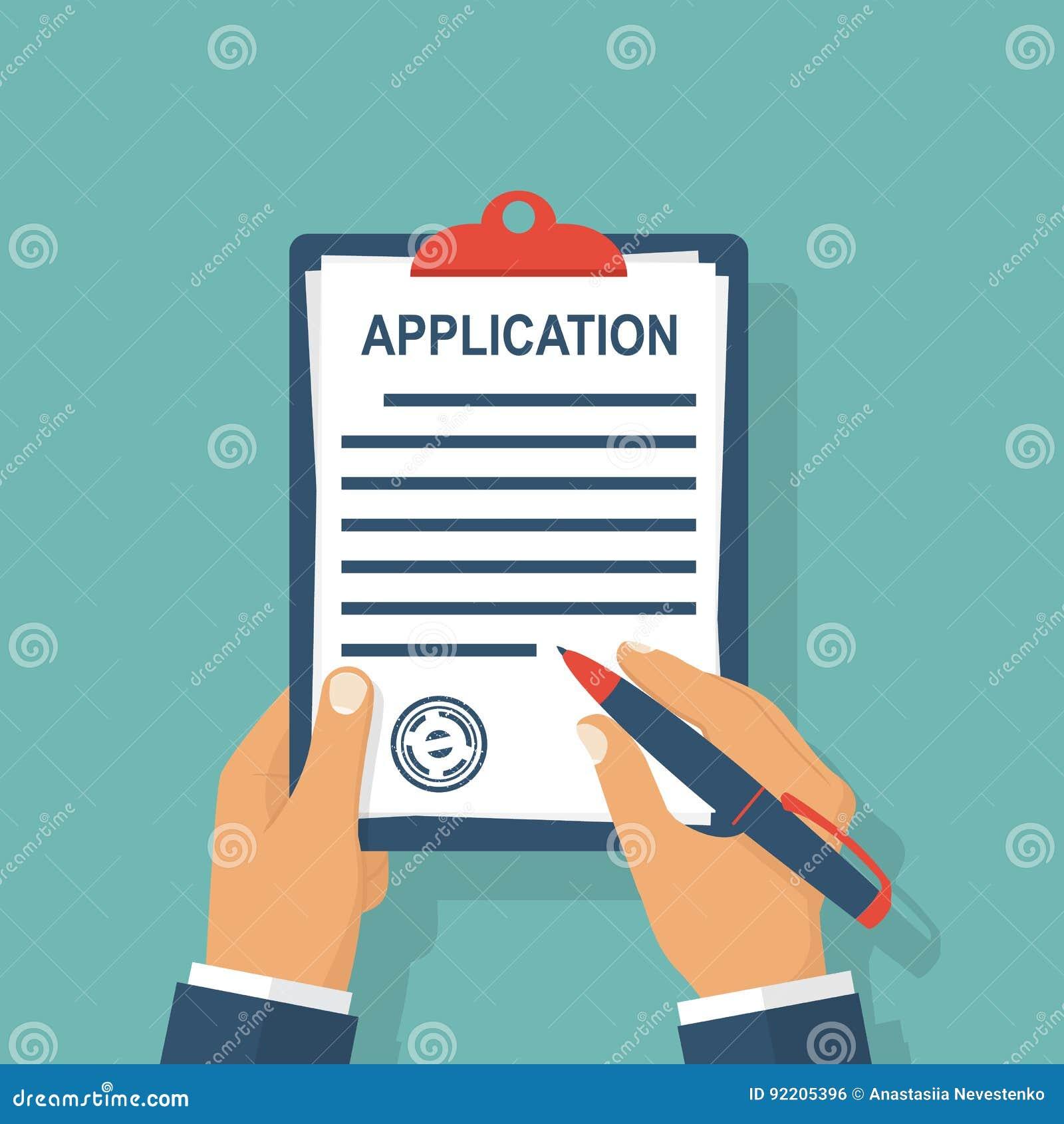 O formulário de candidatura escreve