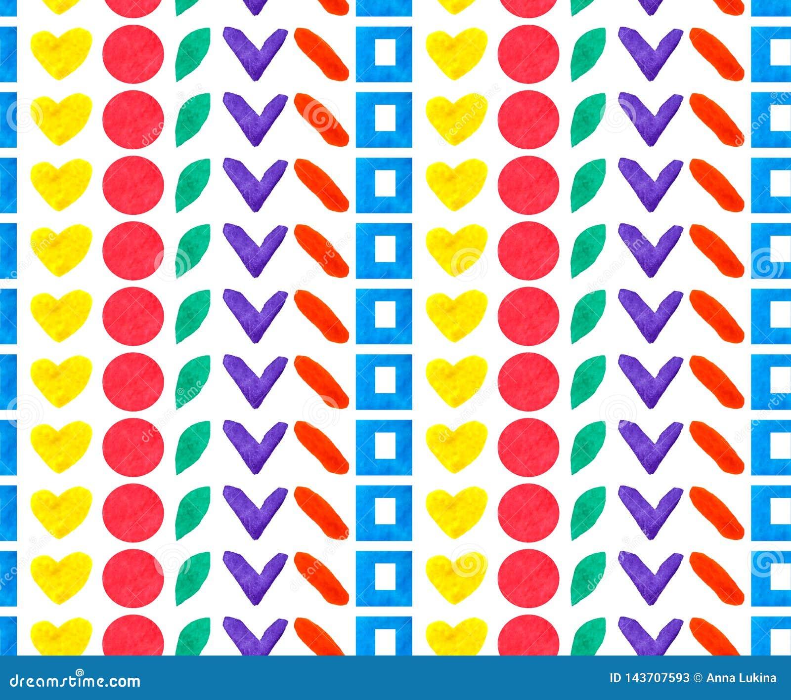O formulário diferente geométrico e as formas do teste padrão sem emenda circundam, esquadram, coração na repetição do arco-íris