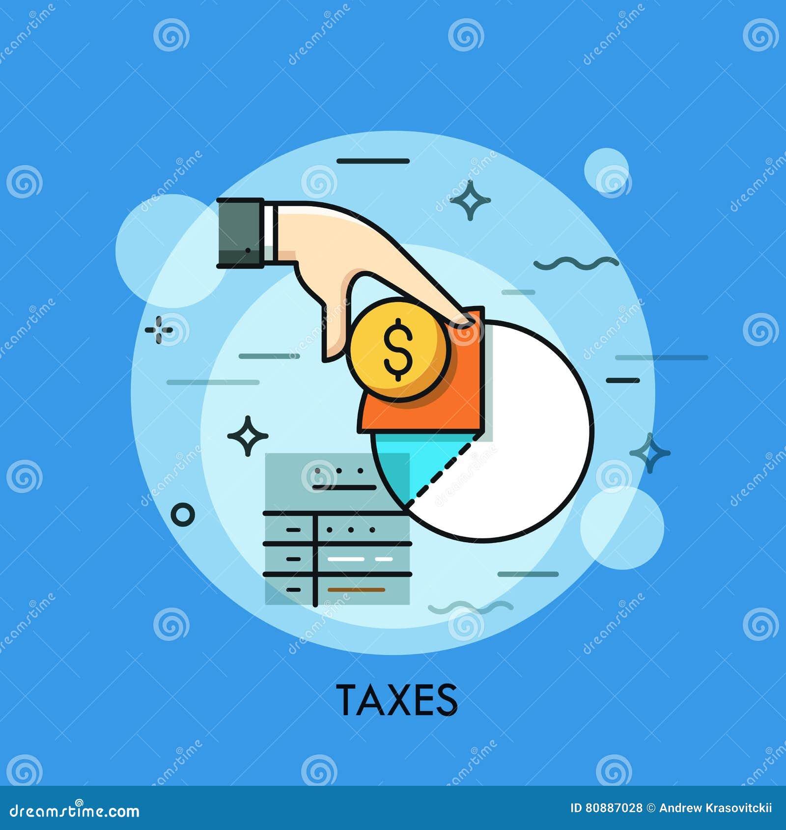 O formulário, a mão que guardam a moeda do dólar e a renda de imposto diagram