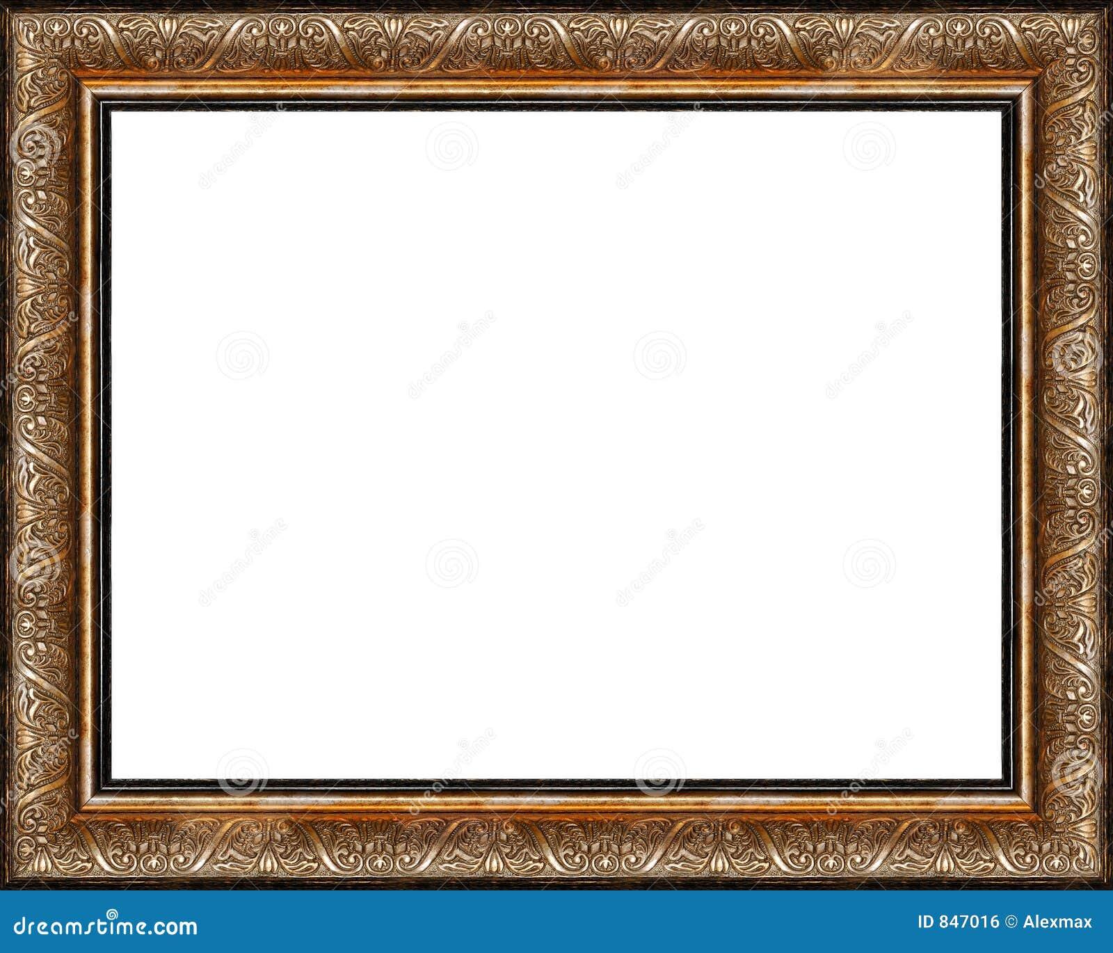 O frame de retrato dourado escuro rústico antigo isolou-se