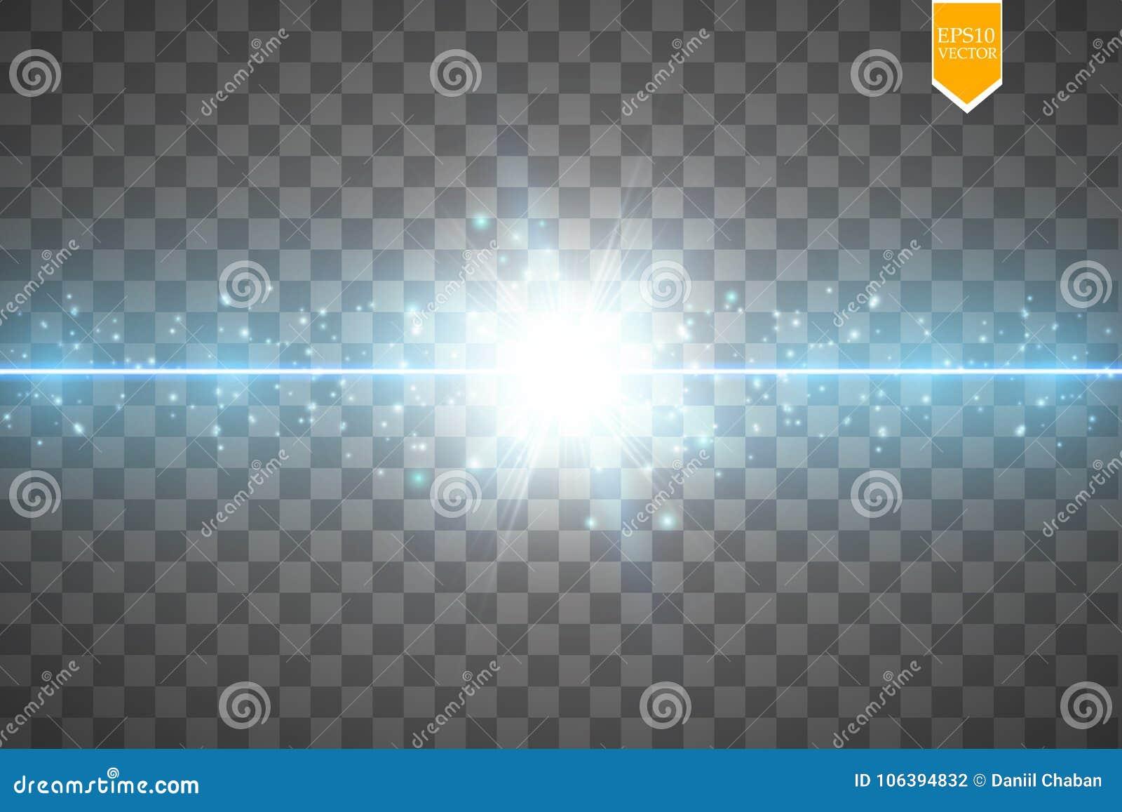 O fulgor isolou o efeito transparente azul, o alargamento da lente, a explosão, o brilho, a linha, o flash do sol, a faísca e as