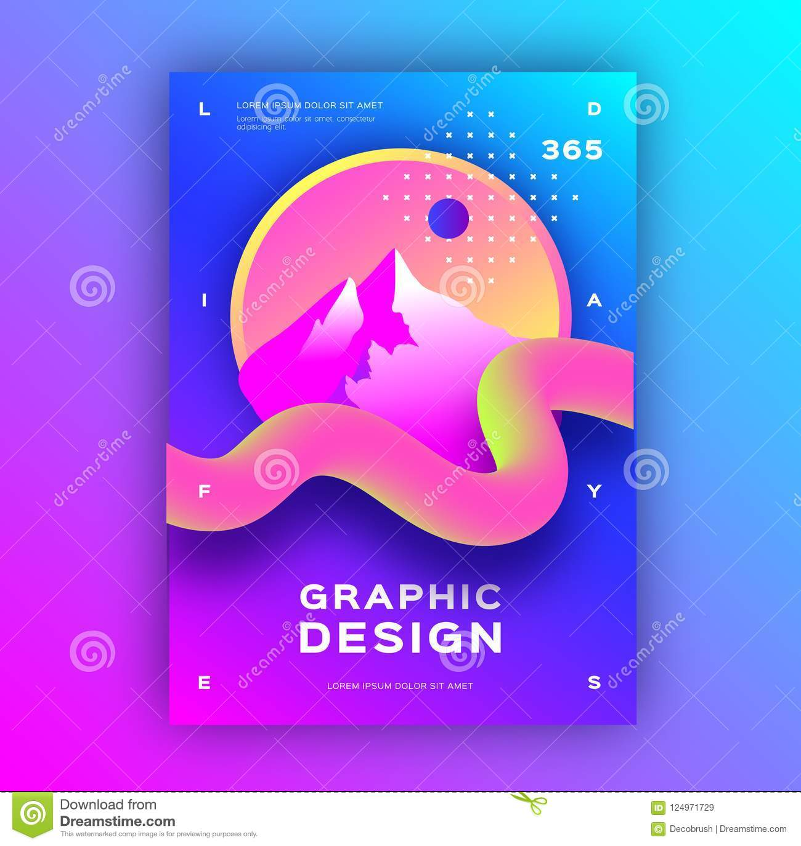 O fundo abstrato geométrico, fundo líquido, líquido do inclinação dá forma Tamanho na moda do cartaz A4 do projeto gráfico, vetor
