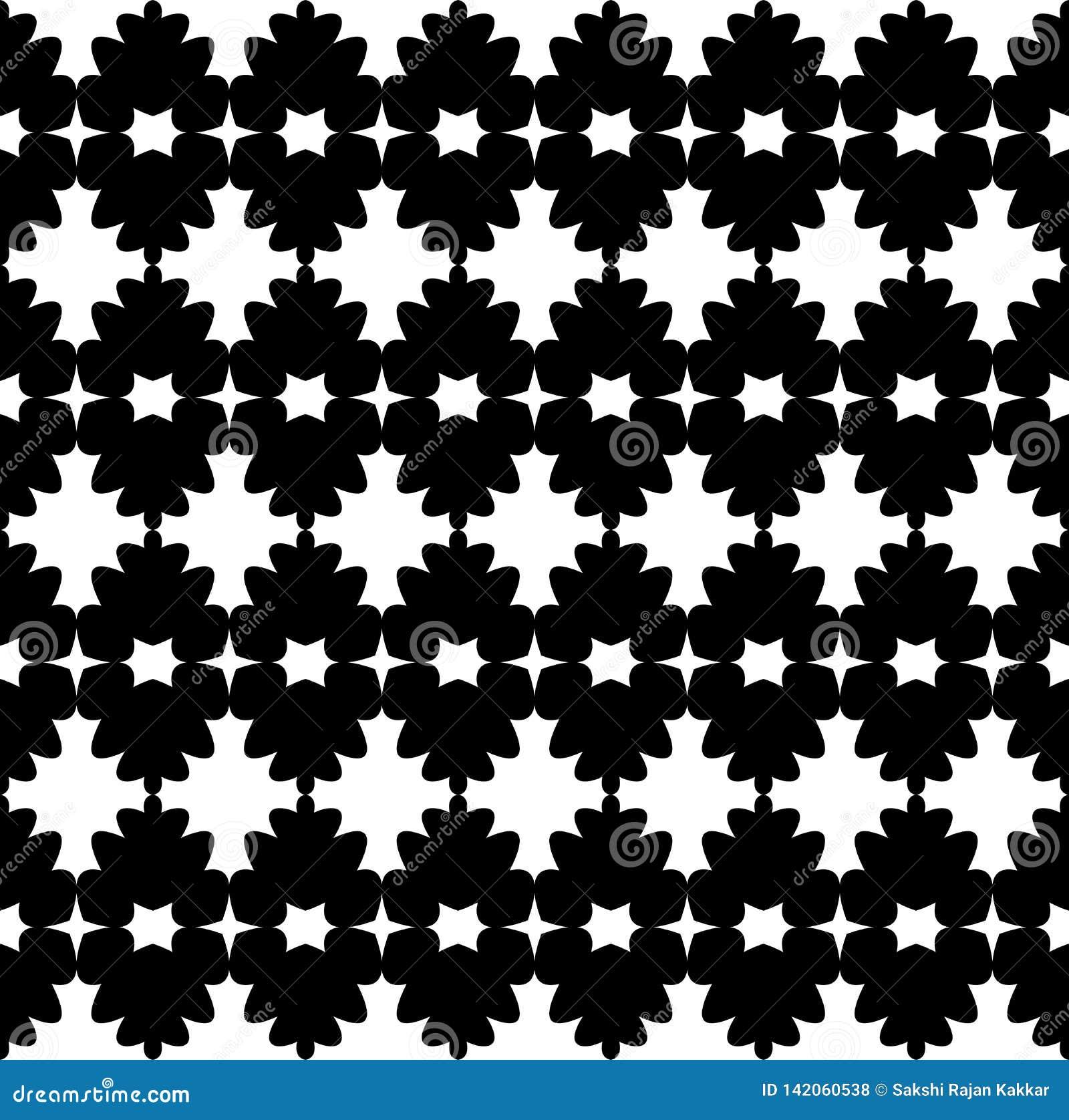 O fundo abstrato preto e branco do vetor e o teste padrão sem emenda da repetição projetam
