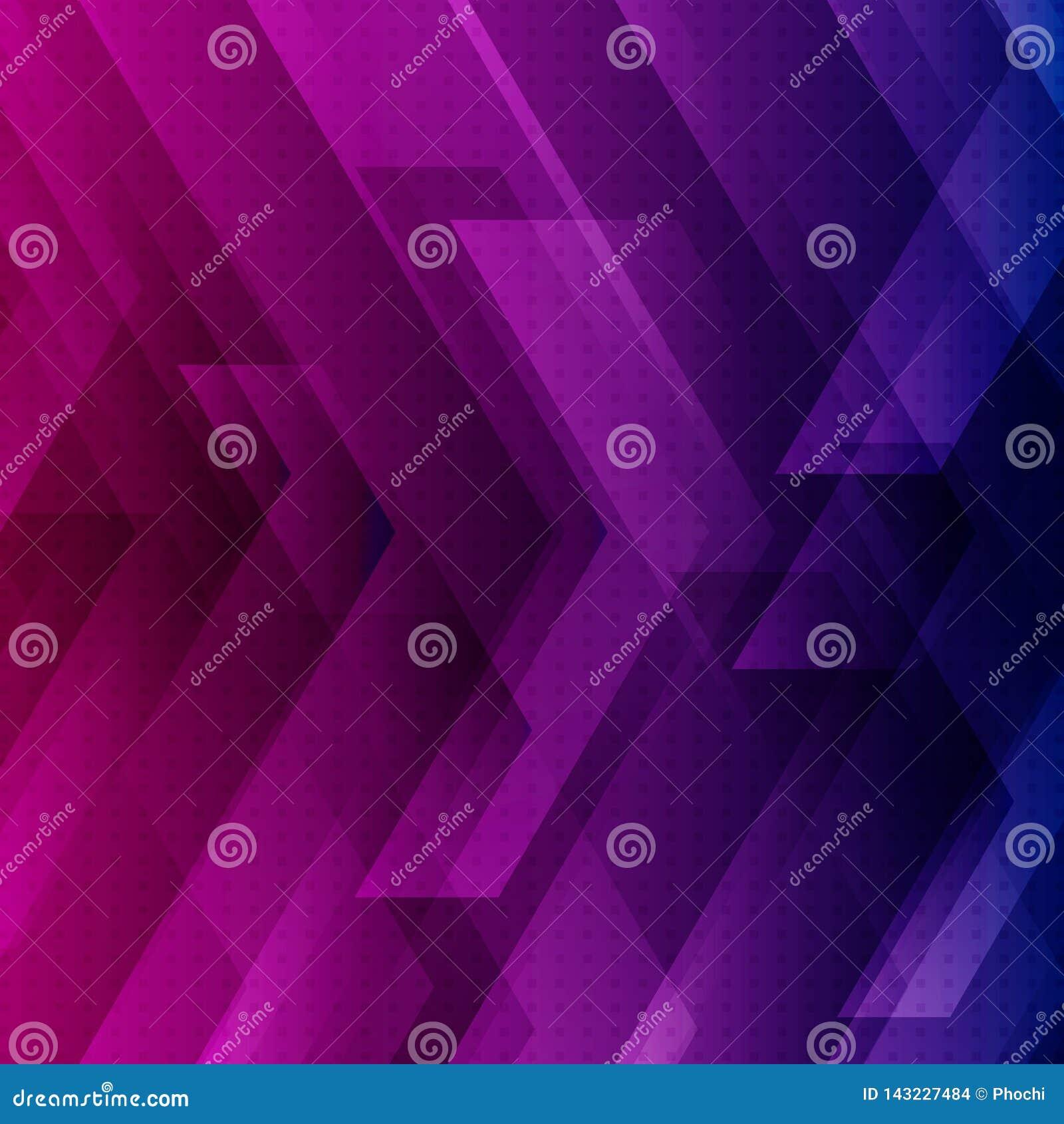 O fundo azul, roxo e cor-de-rosa abstrato da tecnologia com setas grandes assina o conceito digital e das listras da tecnologia E