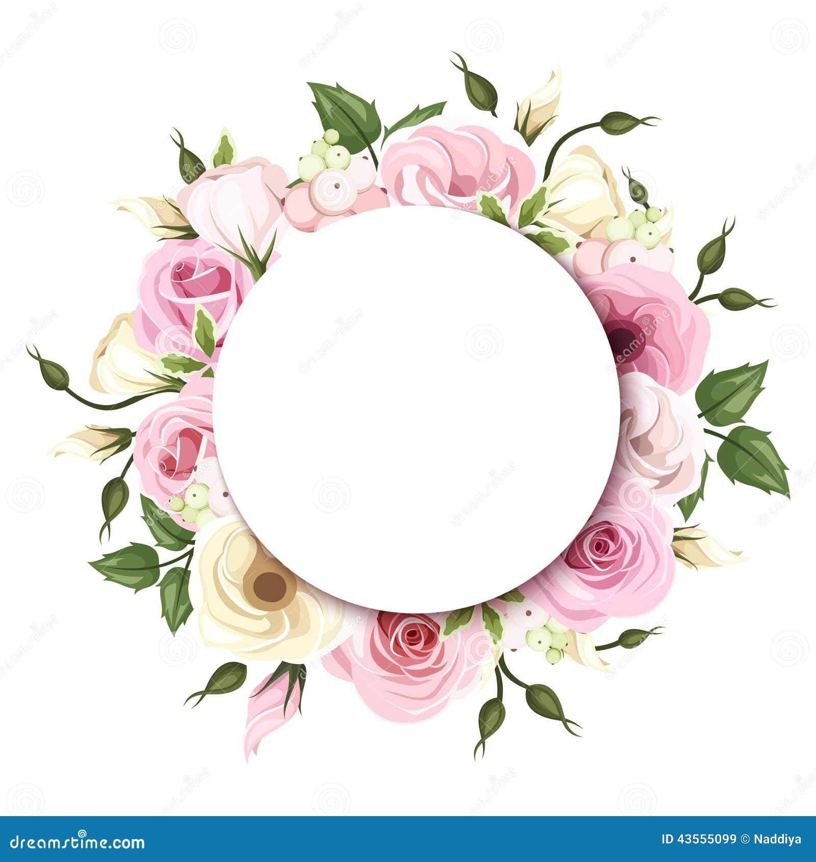 O fundo com as rosas cor-de-rosa e brancas e o lisianthus floresce Vetor EPS-10