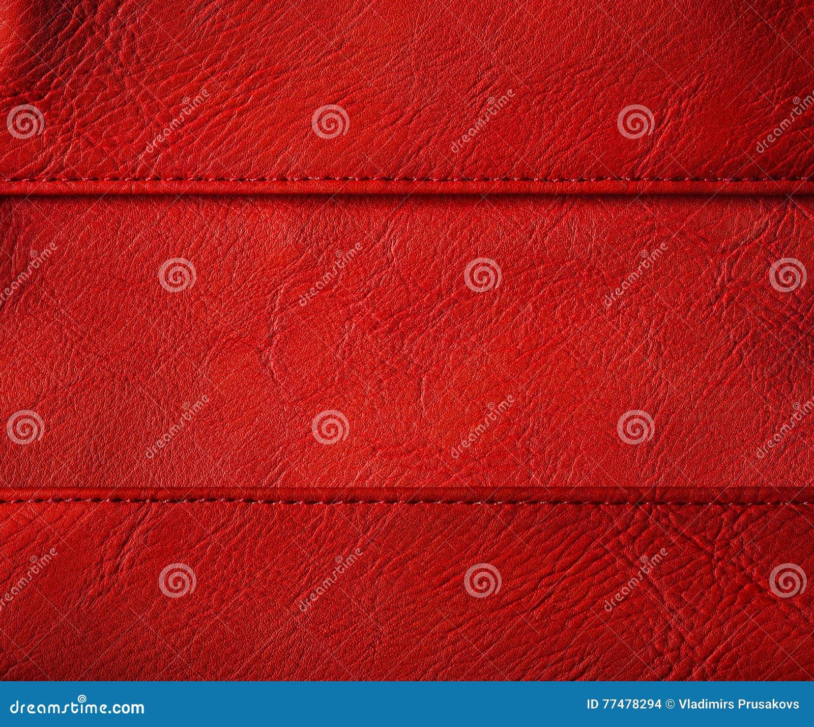 O fundo de couro da emenda da linha, vermelho costurou a textura da roupa