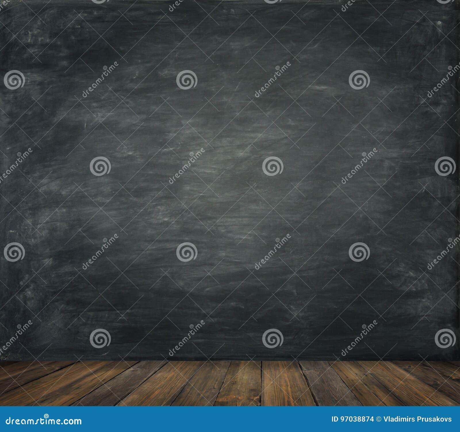 O fundo de madeira do assoalho da parede do quadro-negro, educa a placa preta
