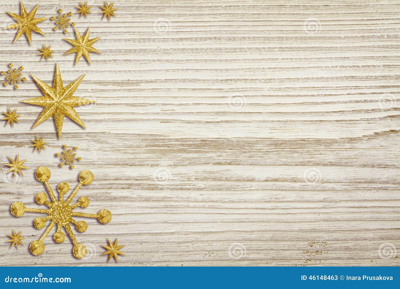 O fundo de madeira do Natal, neve Stars a decoração, madeira branca