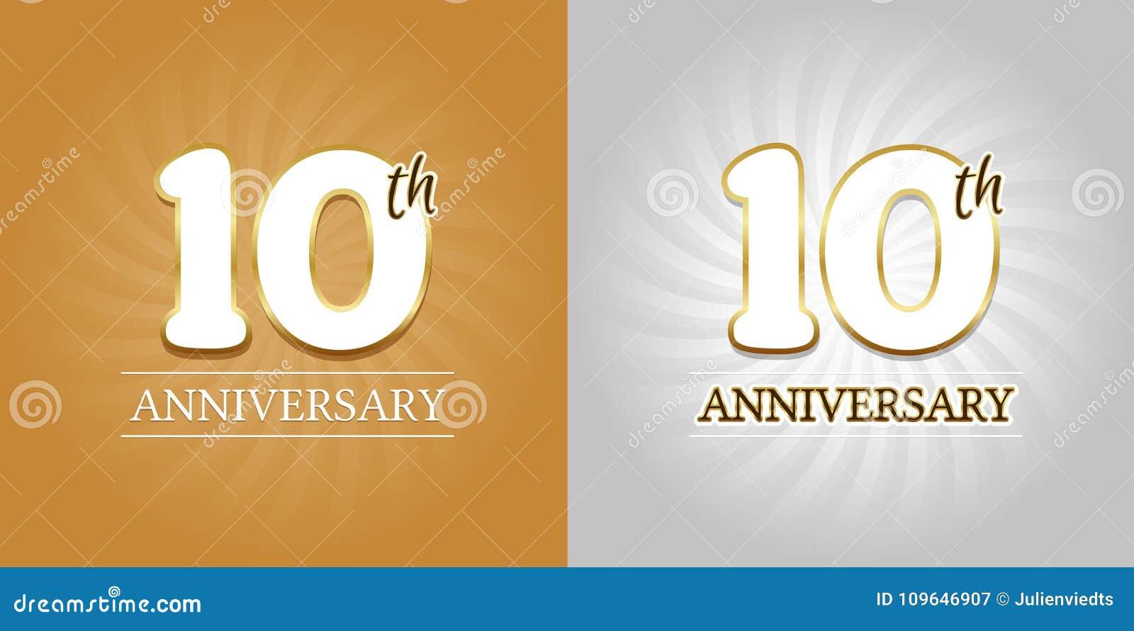 10o fundo do aniversário - 10 anos de ouro e prata da celebração